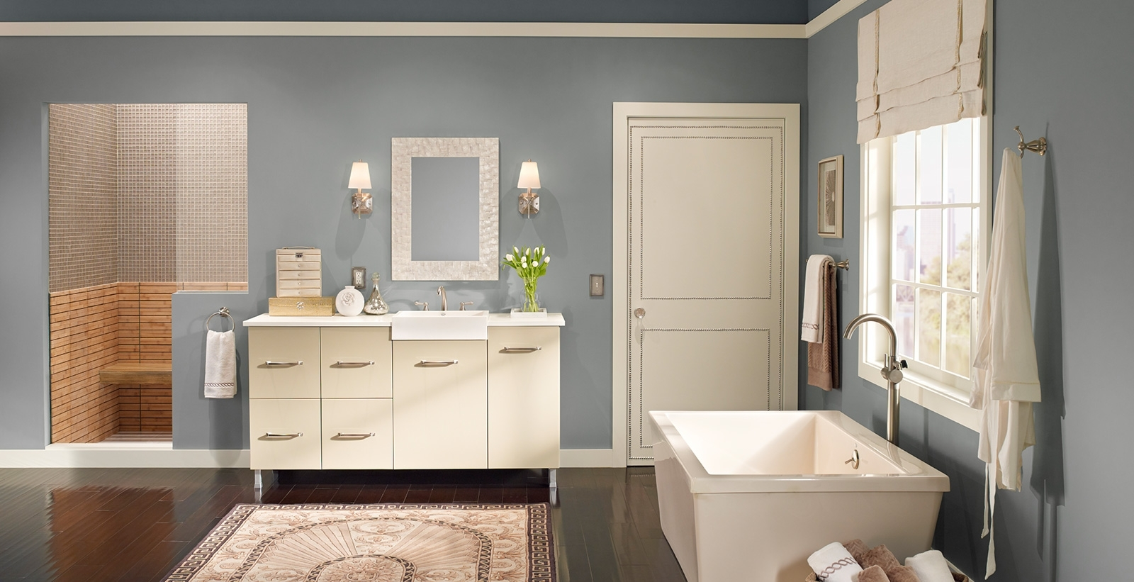 Calming Bathroom Ideas And Inspirational Paint Colors | Behr 40+ Behr Bathroom Color Inspirations
