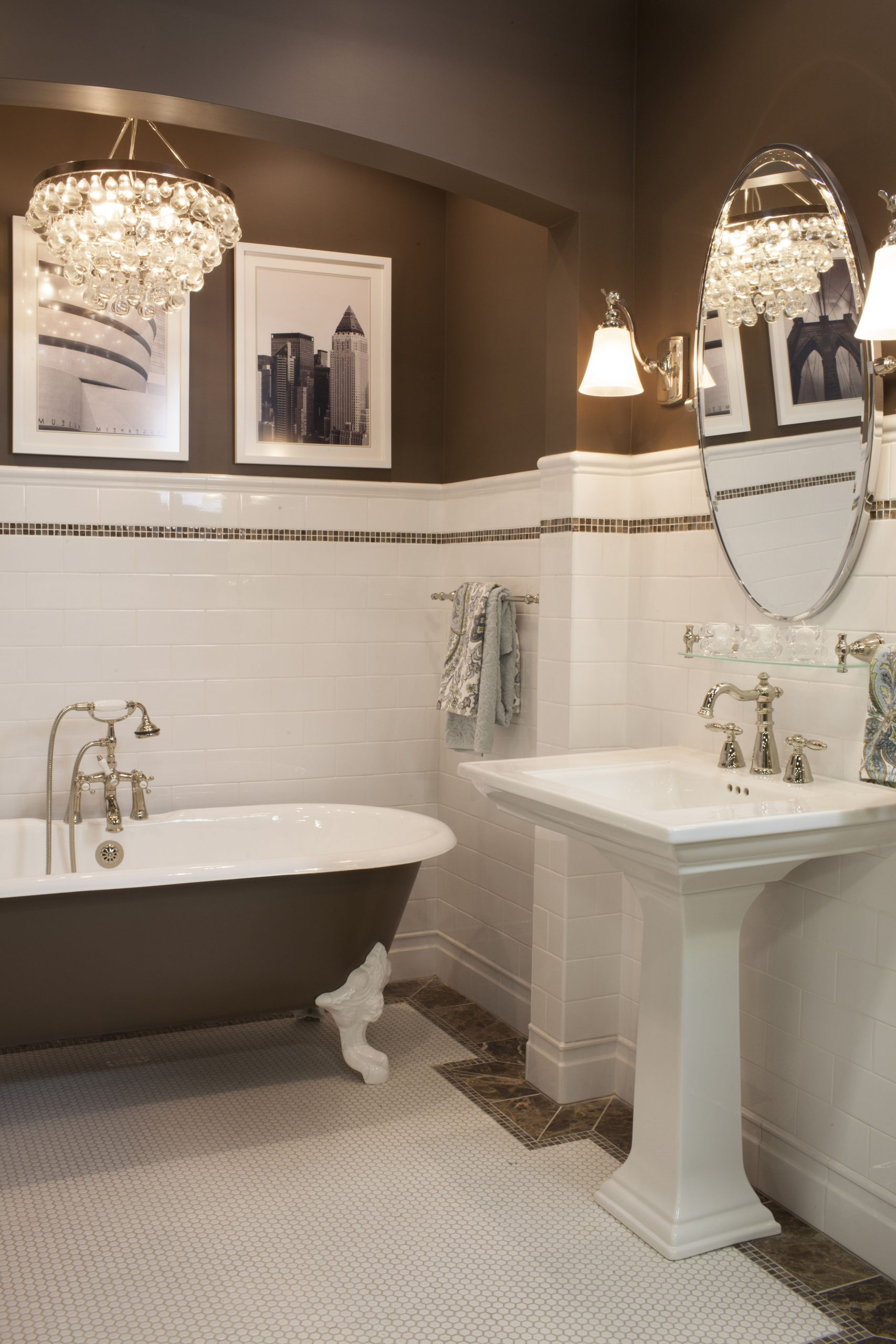 Ceramic Subway Tile Wainscoting And Hex Mosaic Is Always A 20+ Wainscoting Bathroom Pictures Inspirations