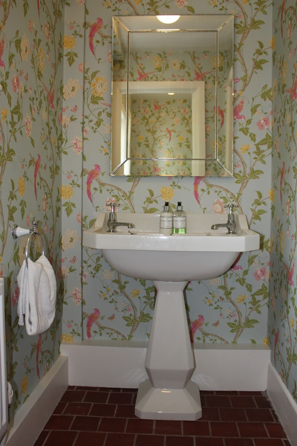 Cloakroom With Floral Wallpaper | Downstairs Toilet, Small Downstairs Bathroom Wallpaper