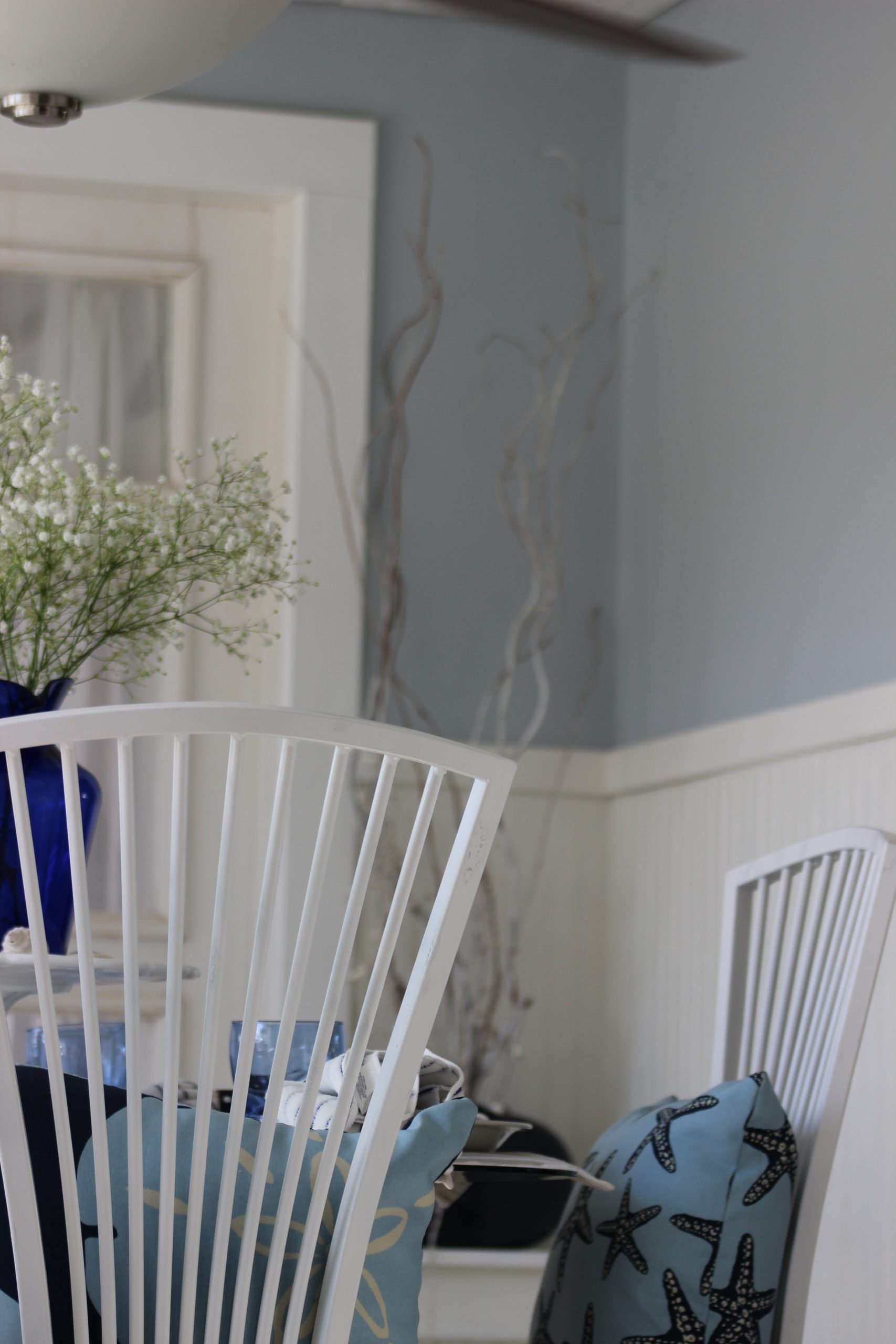 """Coastal Eating Area Goes """"Light French Grey"""" From Behr Behr Light French Gray Living Room"""