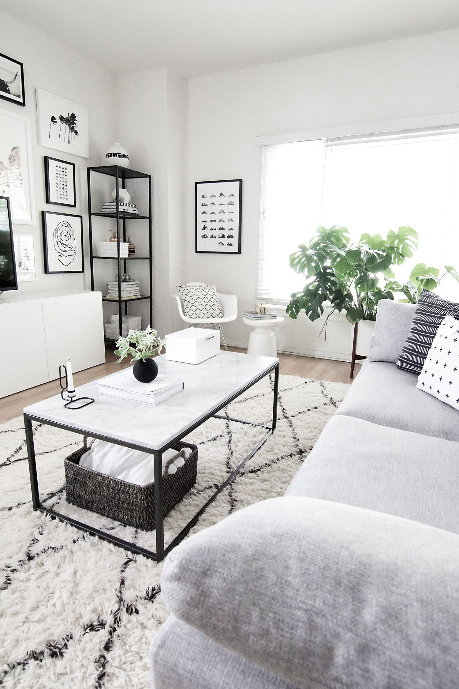Coffee Table Styling Homey Oh My | Monochrome Living Room Monochrome Living Room Decorating