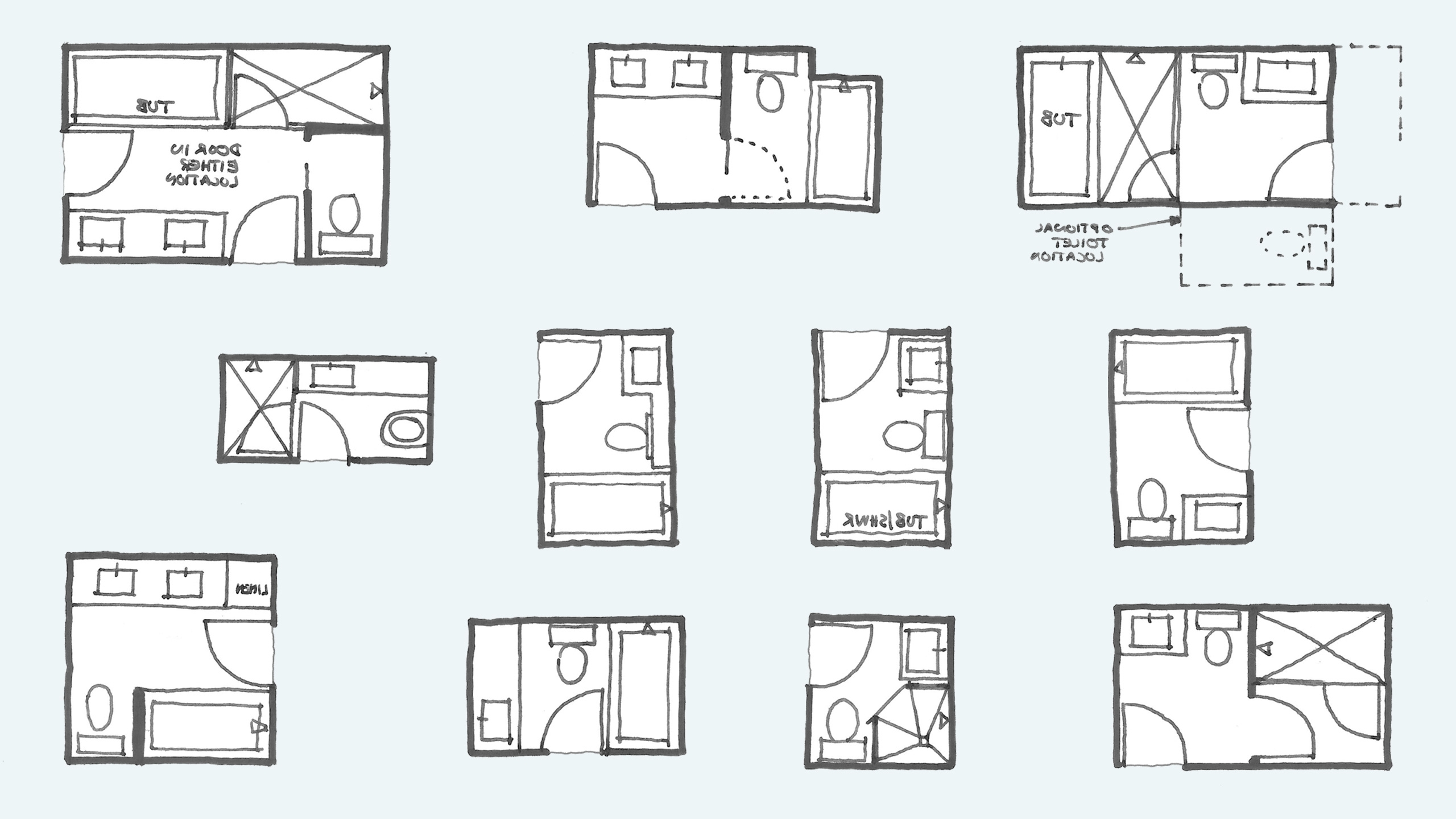 Common Bathroom Floor Plans: Rules Of Thumb For Layout Bathroom Design Layout Planner