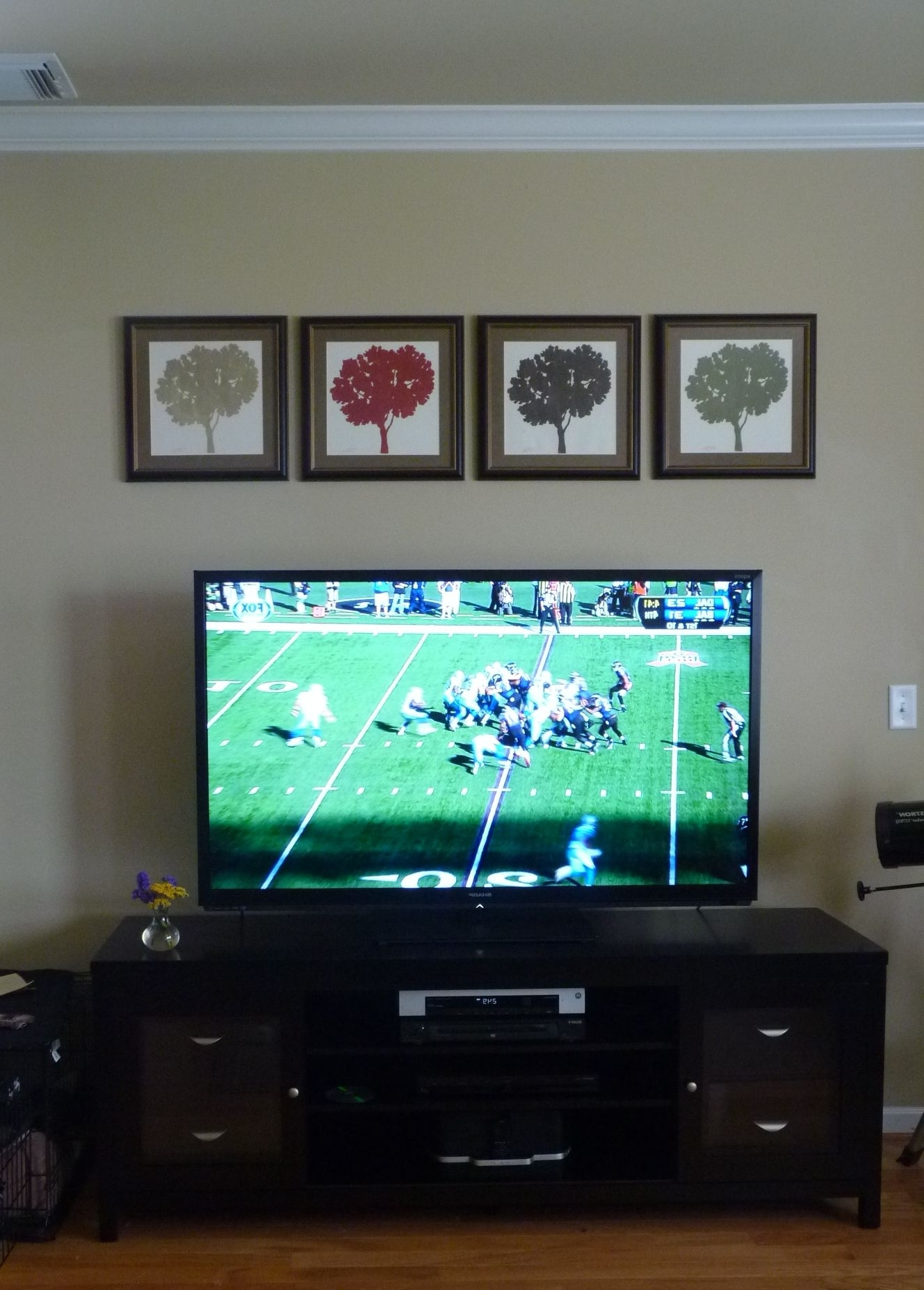 Decorating Around A Flat Screen Tv. Tree Prints Were Made In 40+ Decorating Living Room With Flat Screen Tv Inspirations