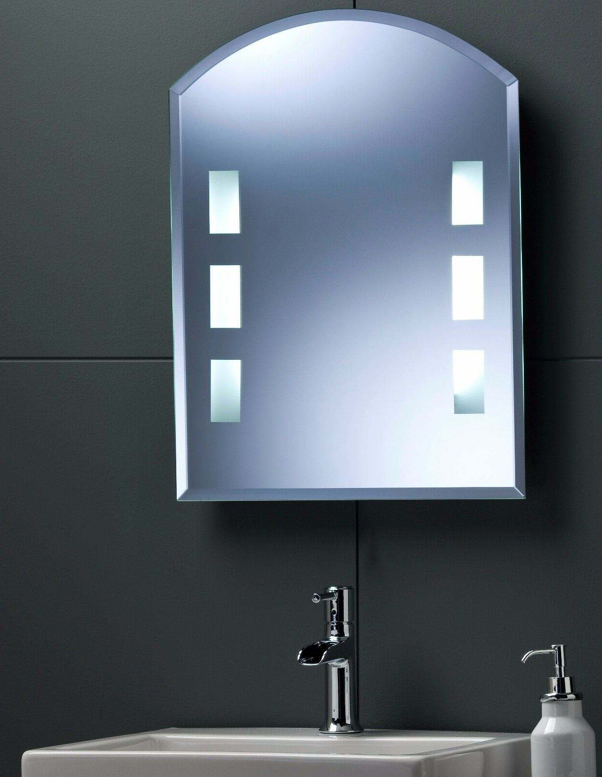 Details About Illuminated Arch Bathroom Wall Mirror, Back Lit Led'S, Rocker Switch 60X45Cm Neue Design Led Illuminated Bathroom Mirror Cabinet