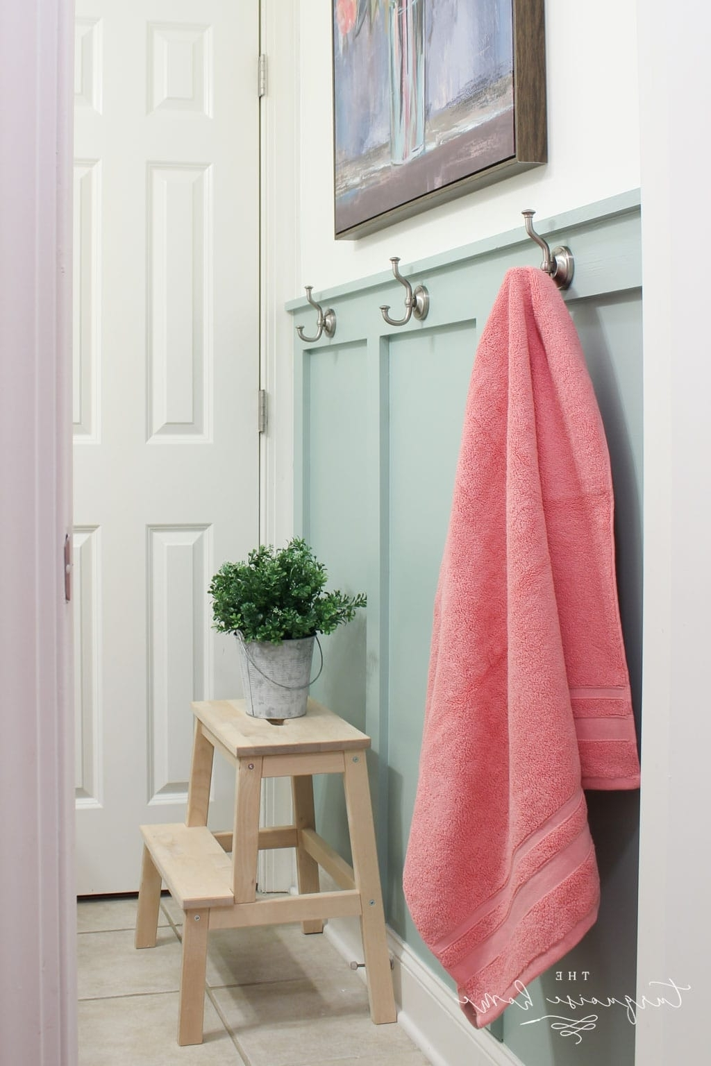 Diy Board And Batten In The Girls' Bathroom   The Turquoise Home Board And Batten Small Bathroom
