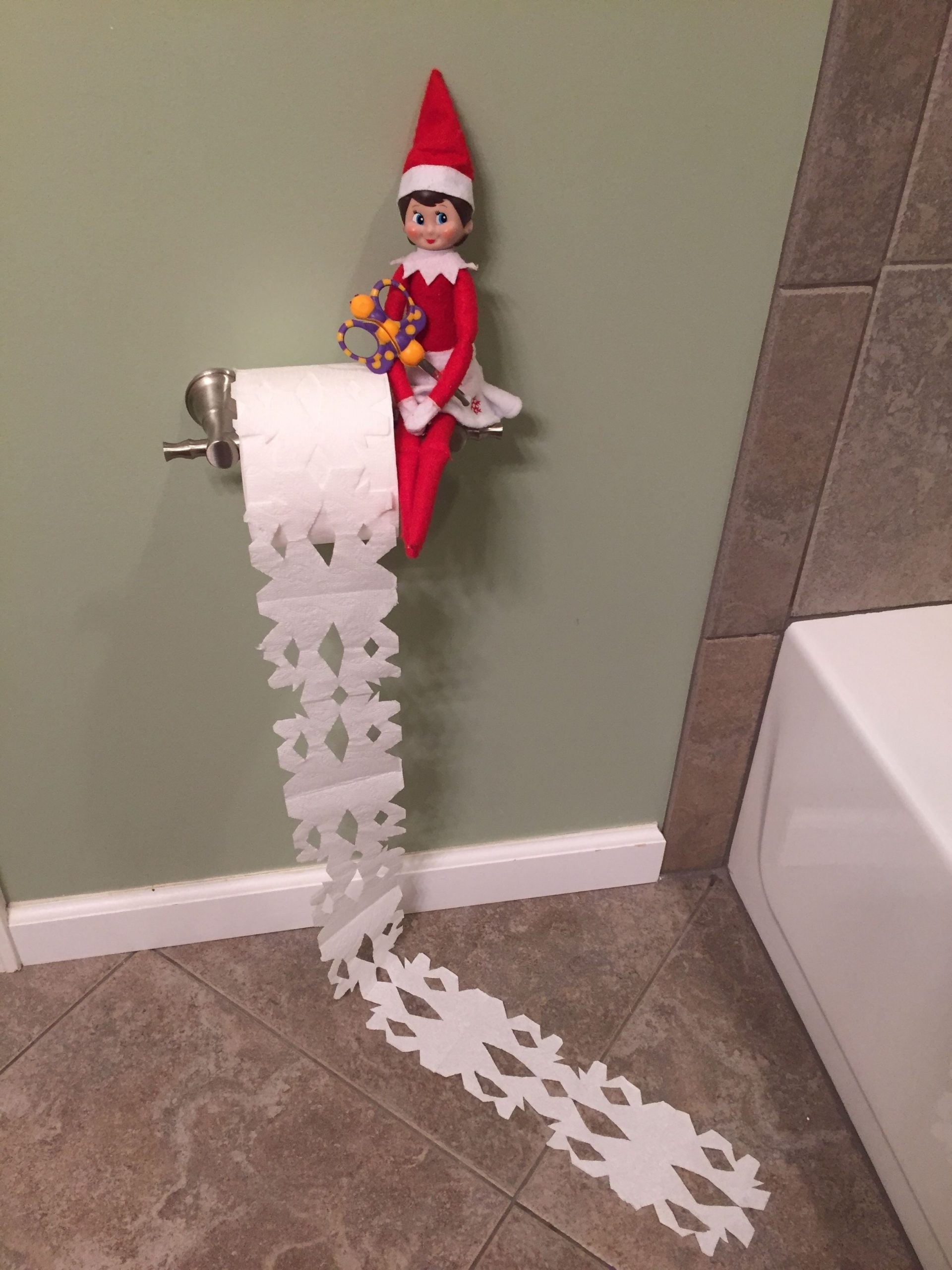 Elf On The Shelf Day 29!! Jingle Bell Made Toilet Paper Elf On The Shelf For Bathroom