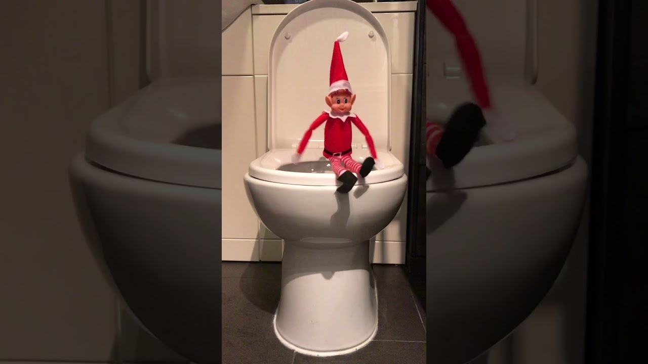 Elf On The Shelf On The Toilet Youtube Elf Bathroom