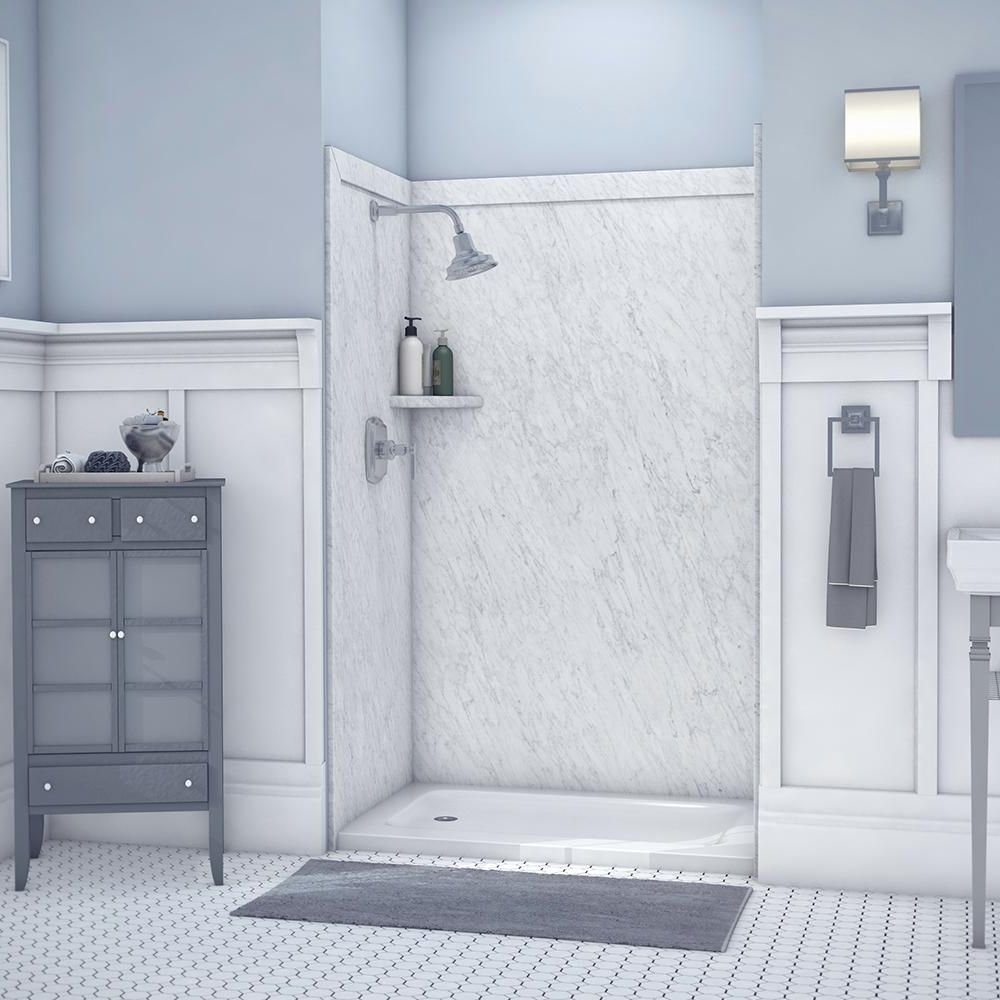 Flexstone Elegance 36 In. X 48 In. X 80 In. 9 Piece Easy Up Adhesive Alcove Shower Wall Surround In Frost Ssk48367831Fr The Home Depot Bathroom Alcove Shower
