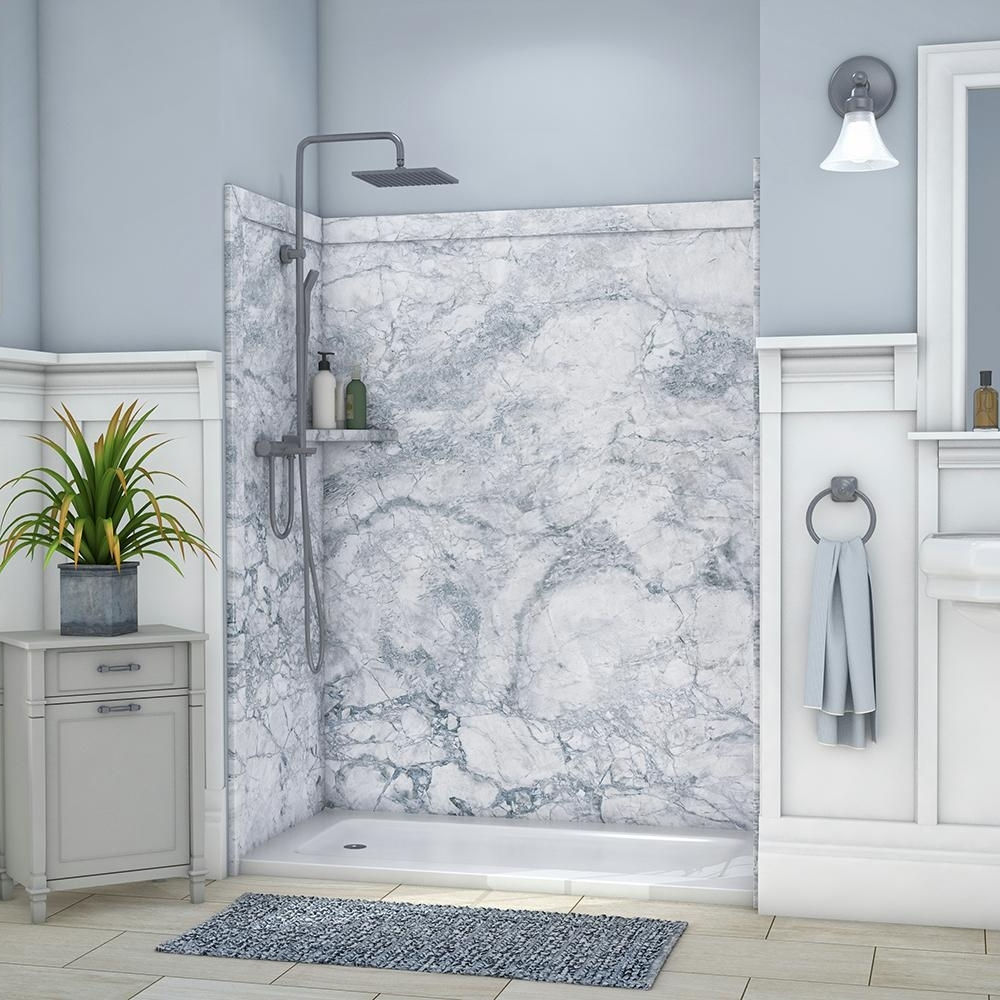 Flexstone Royale 36 In. X 60 In. X 80 In. 11 Piece Easy Up Adhesive Alcove Bathtub/Shower Wall Surround In Everest Ssk60367831Ev The Home Depot 30+ Bathroom Alcove Shower Ideas