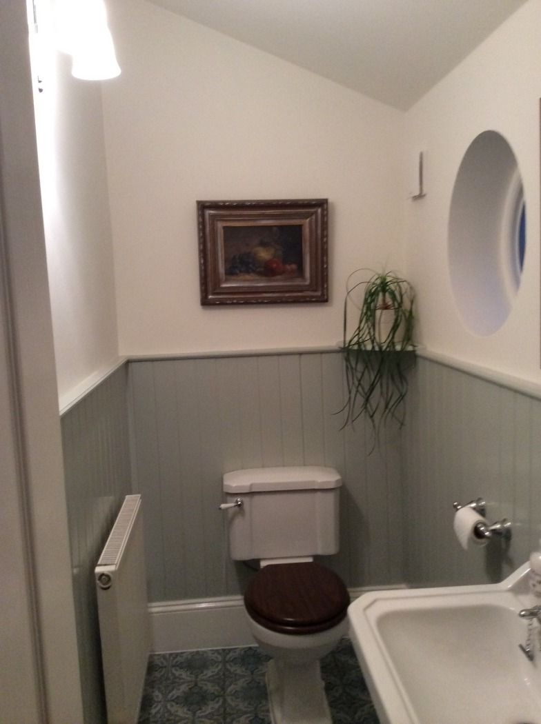 Grey Wood Paneling (With Images)   Small Wc Ideas Downstairs 30+ Small Bathroom Panelling Inspirations