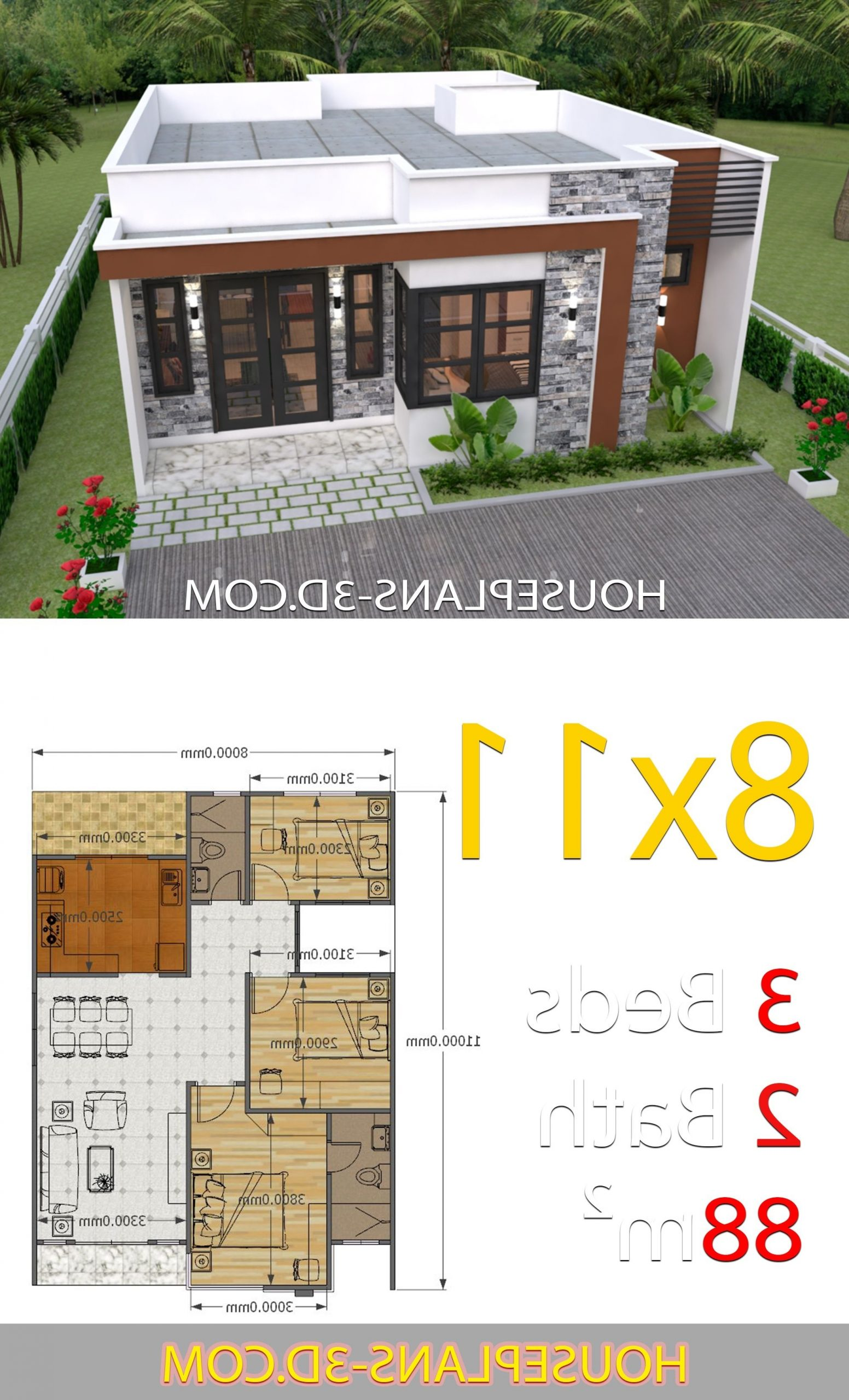 House Design 8X11 With 3 Bedrooms Full Plans House Plans 20+ 8X11 Bathroom Design Ideas