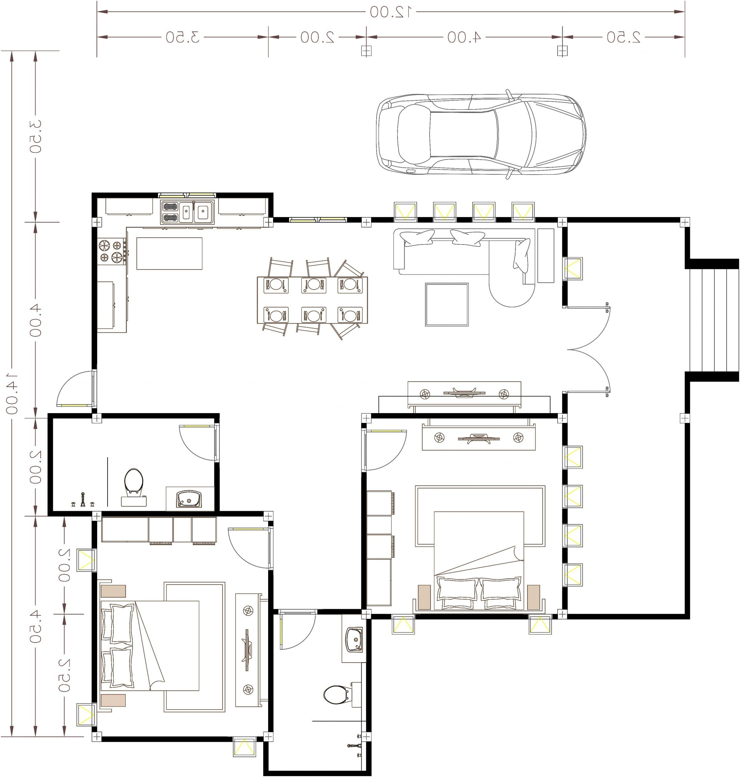 House Plans 14X12 With 2 Bedrooms Hip Roof   House Plans 20+ 14X12 Living Room Inspirations