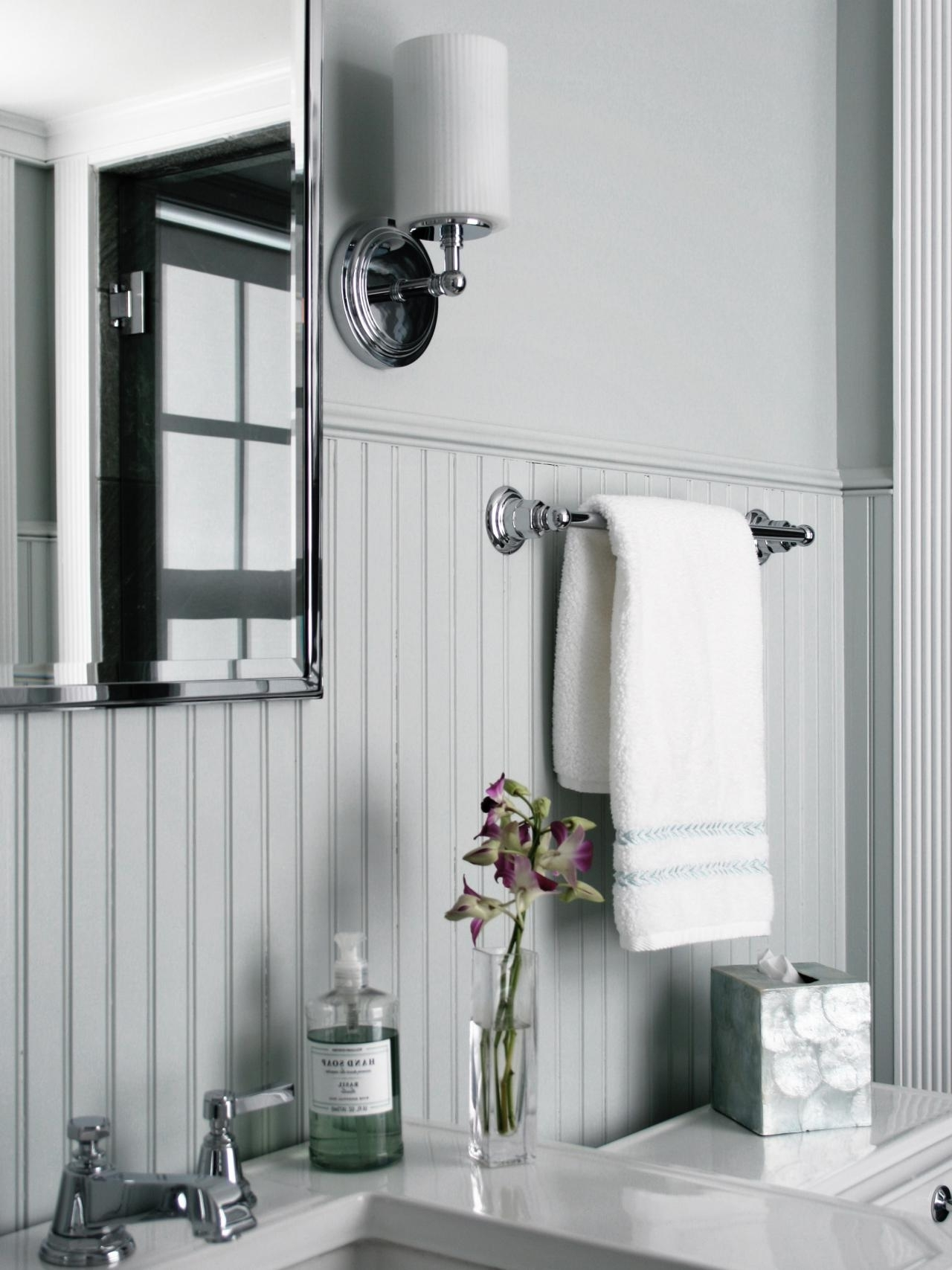 How To Cover Dated Bathroom Tile With Wainscoting | Hgtv Wainscoting Bathroom Pictures