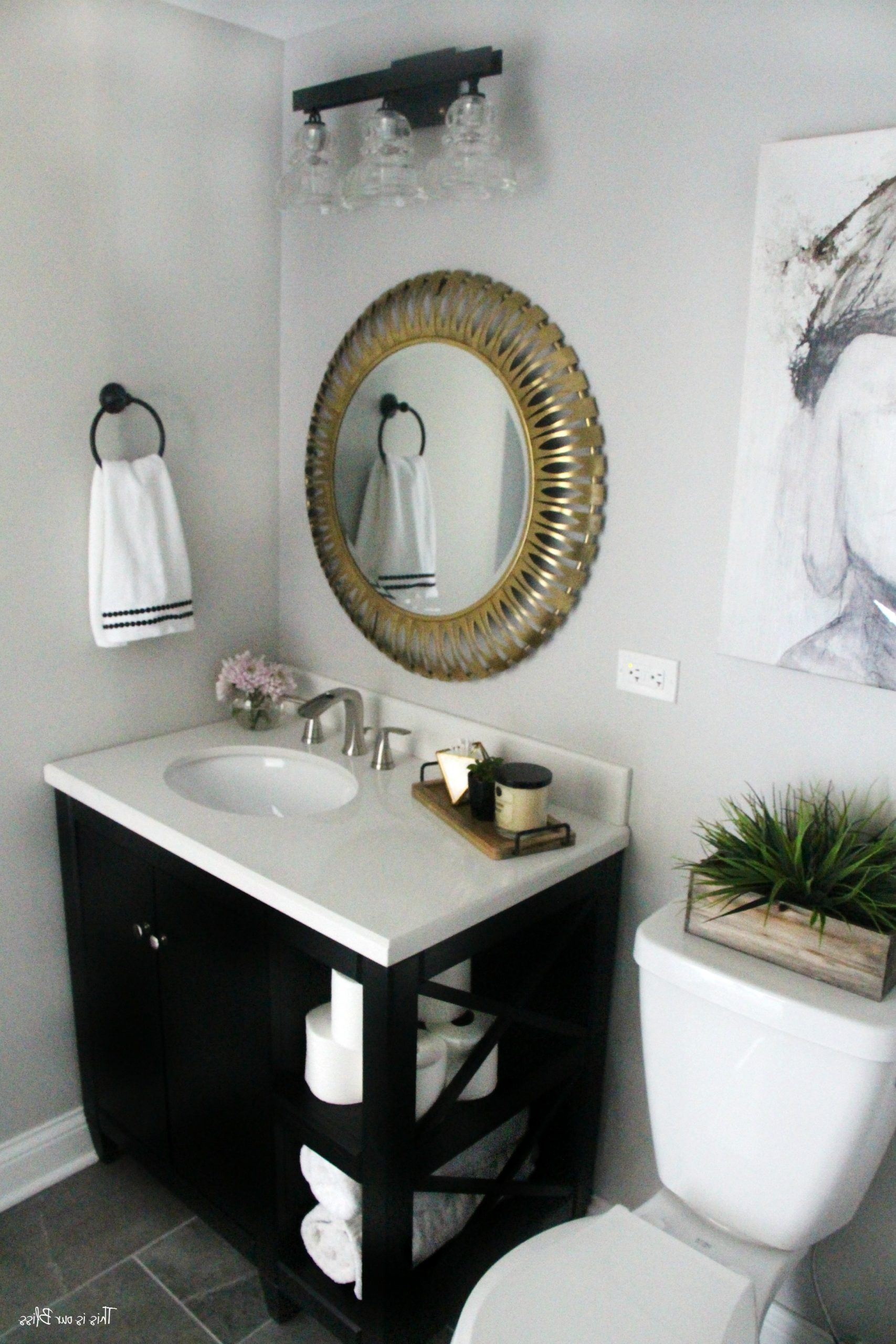 How To Create A Neutral Glam Basement Bathroom | This Is Our Inexpensive Basement Bathroom