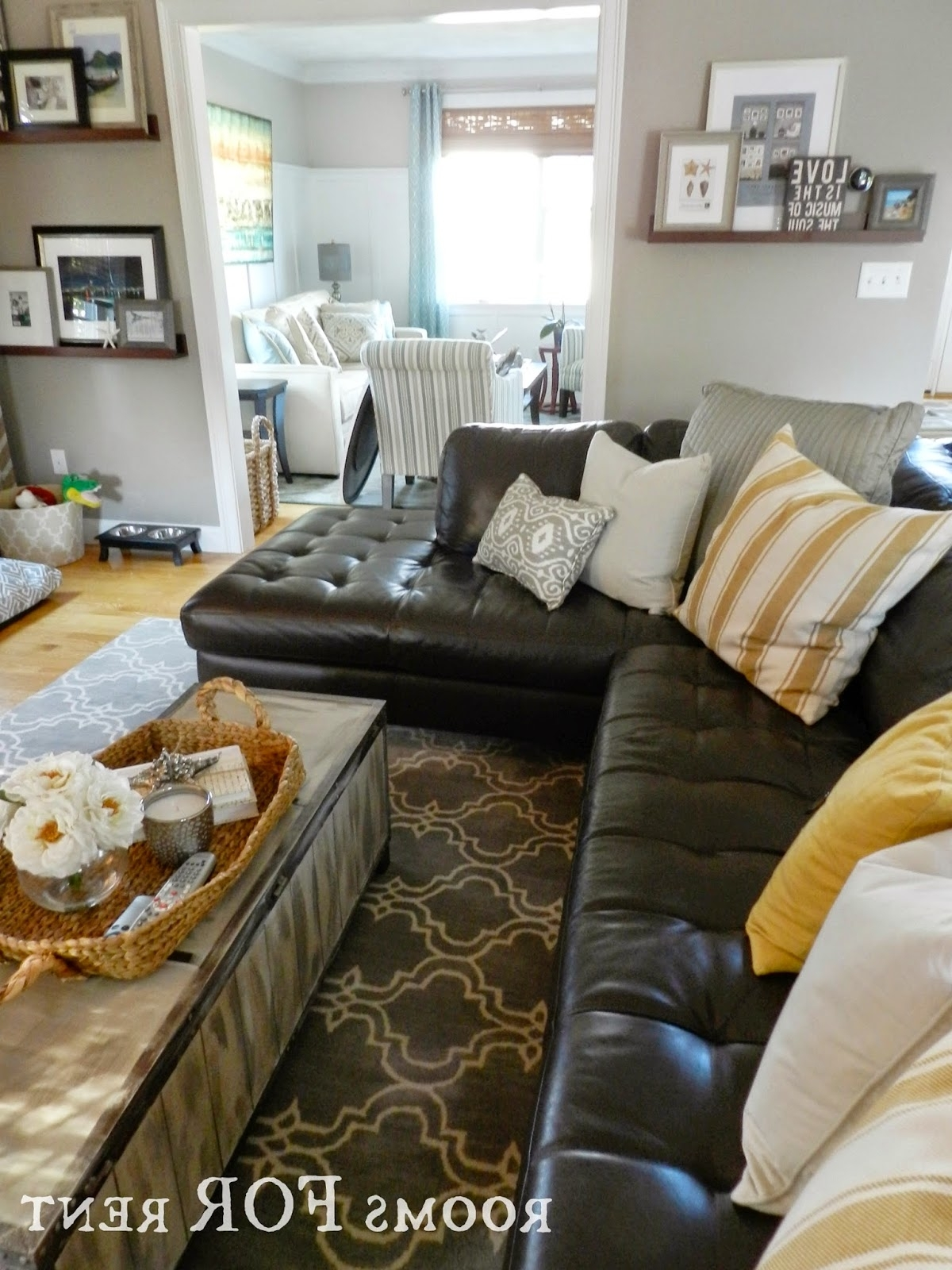 How To Style A Dark Leather Sofa (Den Makeover) Beneath My Living Room Decorating Black Leather Couch