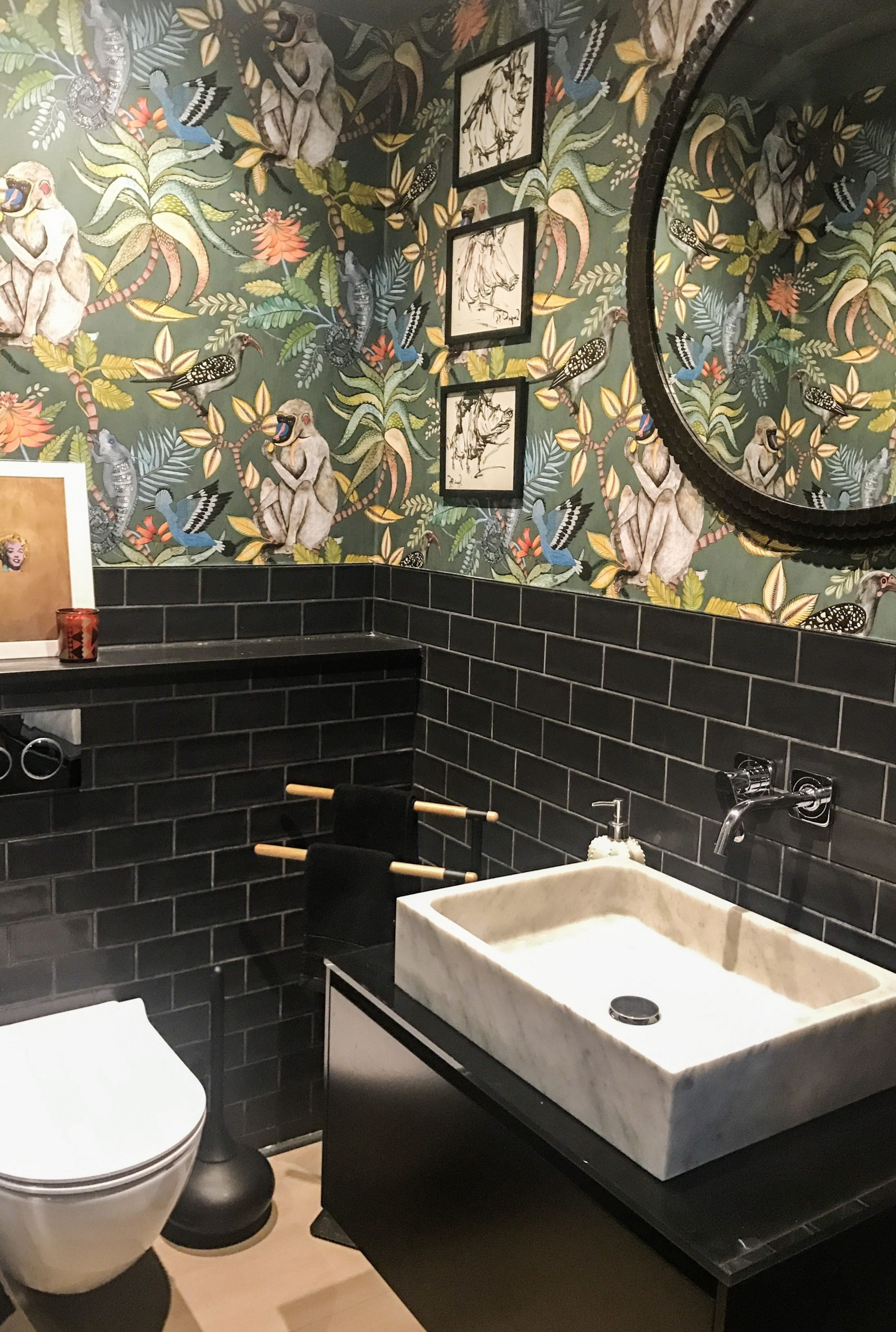 In The Jungle. Guest Wc! | Guest Toilet, Bathroom Downstairs Bathroom Wallpaper