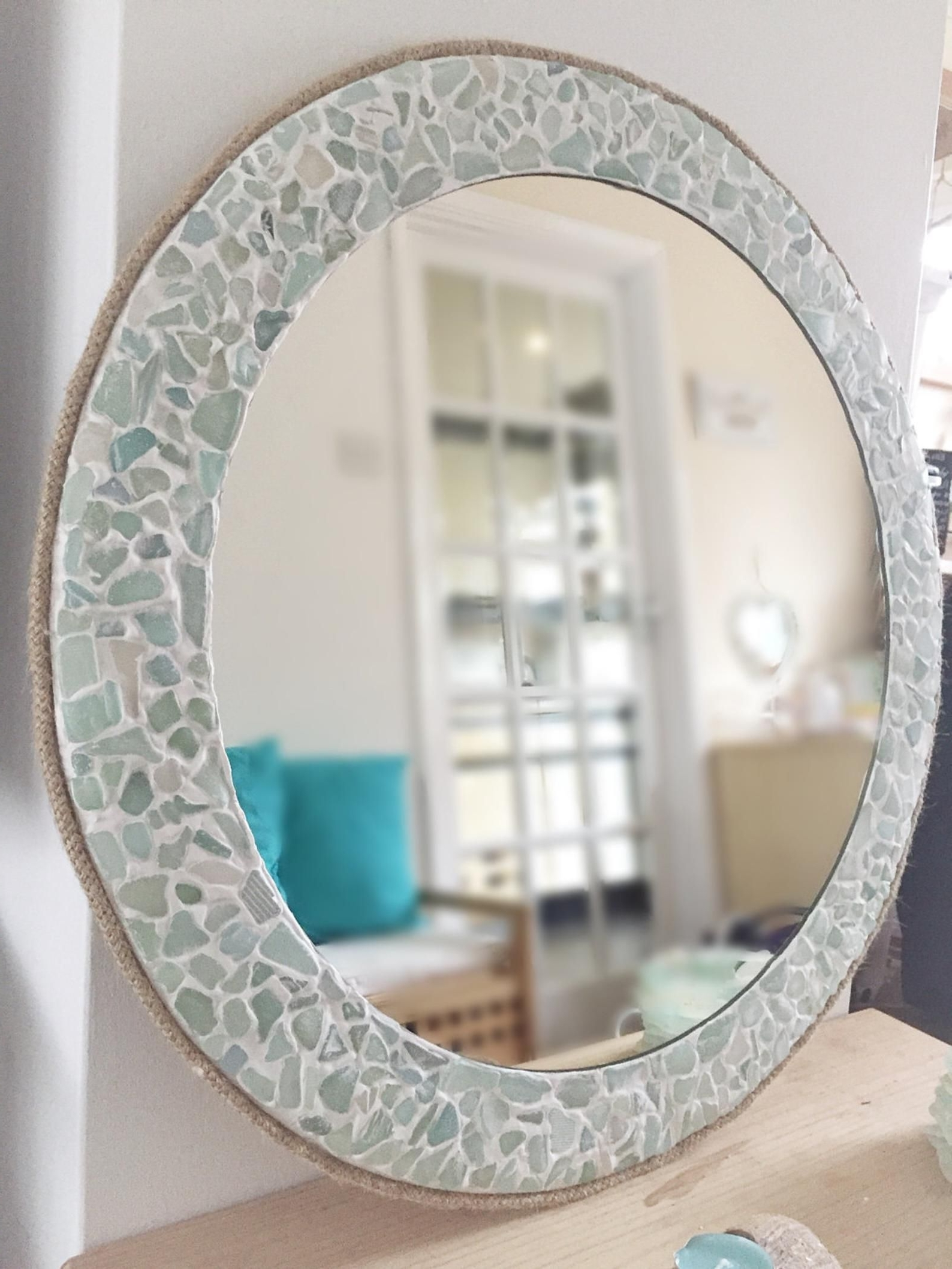 Large Round Sea Glass Mirror Isle Of Wight Beach Home Decor Nautical Bathroom Mirrors