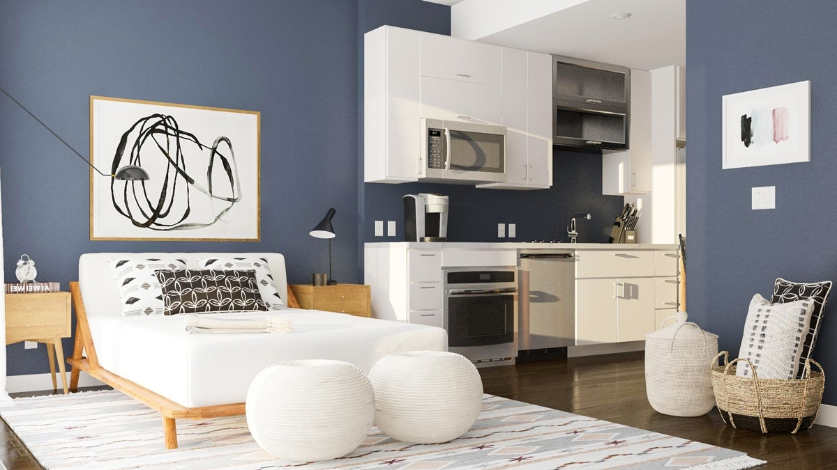 Layout Guide: Tackling The L Shaped Studio Apartment   Modsy 30+ Alcove Studio Apartment Design Inspirations