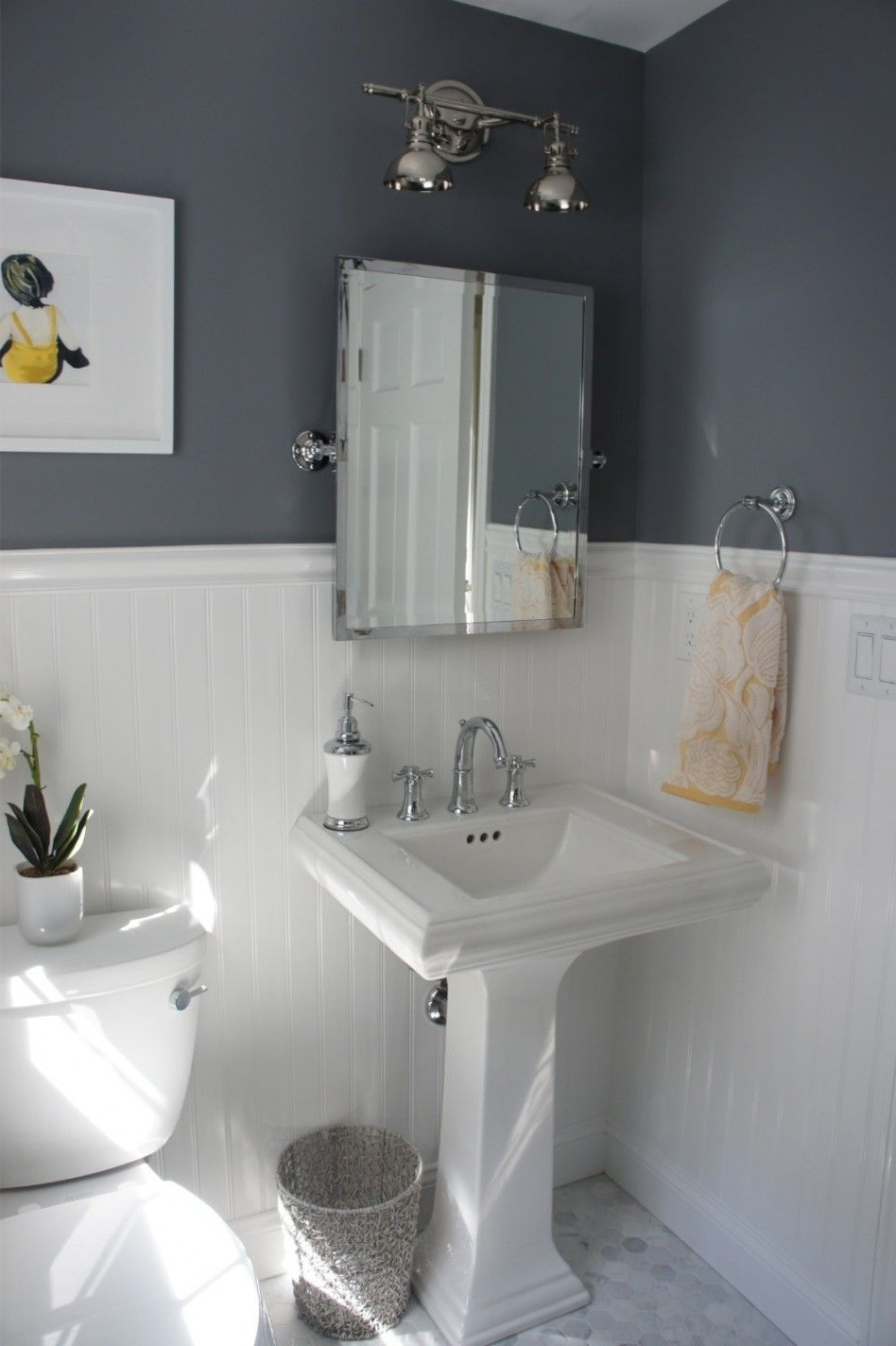 Makeover Bathroom Ideas Picture Using Beadboard : Cool Small Small Bathroom Designs With Wainscoting