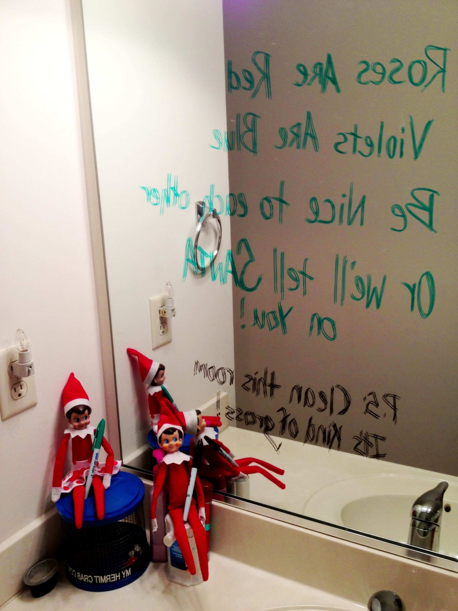 Message On The Mirror ~ Elf On The Shelf. Be Aware: My 10+ Elf Bathroom Inspirations