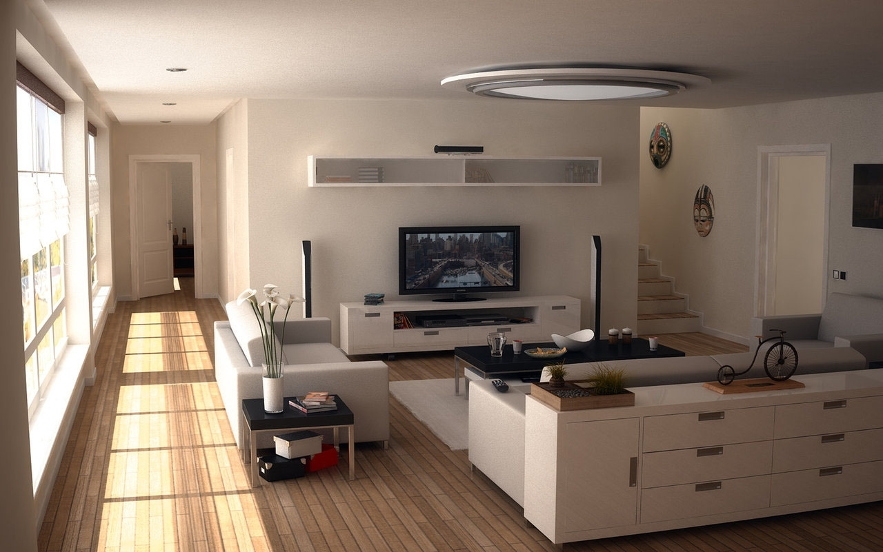 Modern Interior Living Room Equipped Flat Screen Design Decorating Living Room With Flat Screen Tv