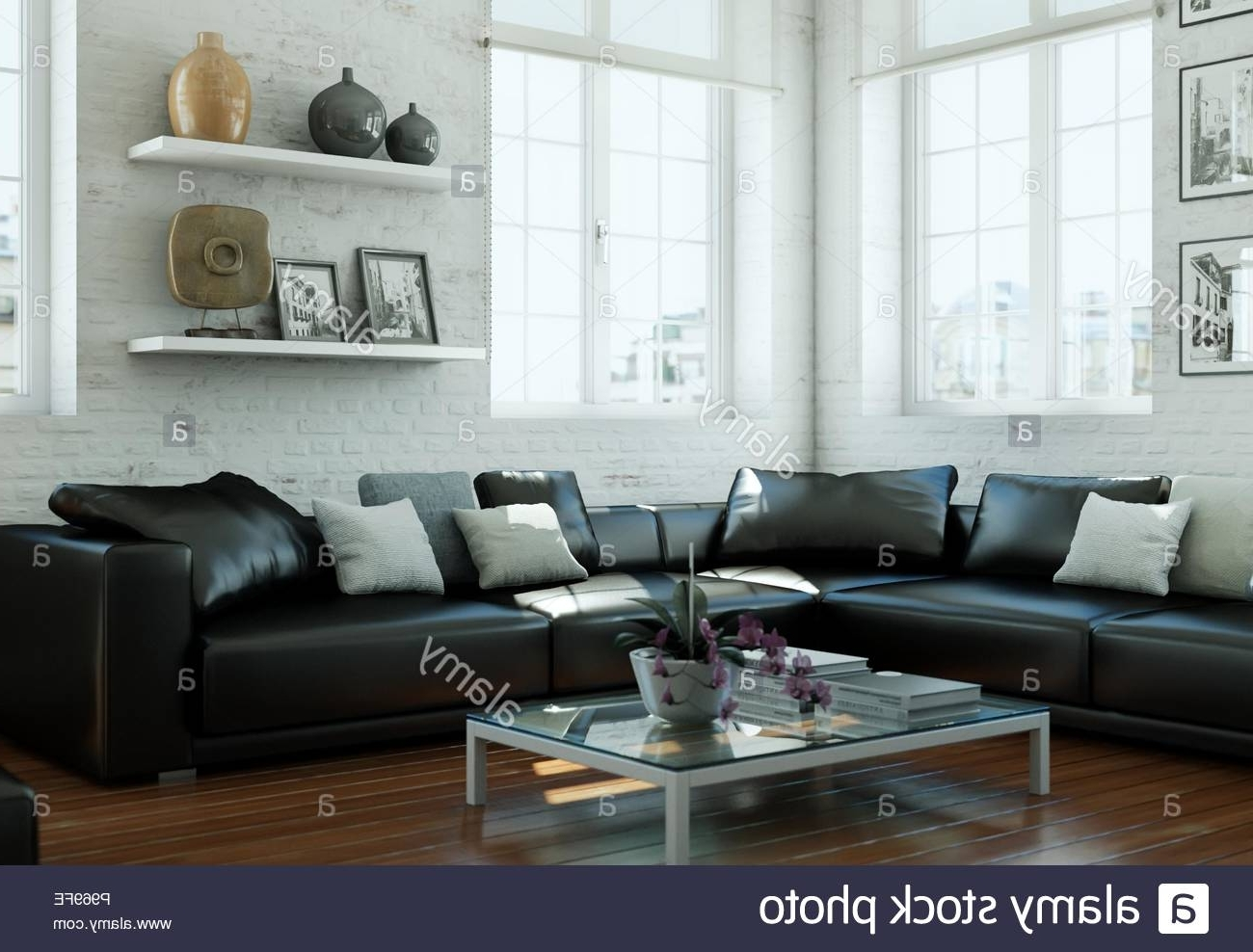 Modern Skandinavian Interior Design Living Room With Black Living Room Decorating Black Leather Couch