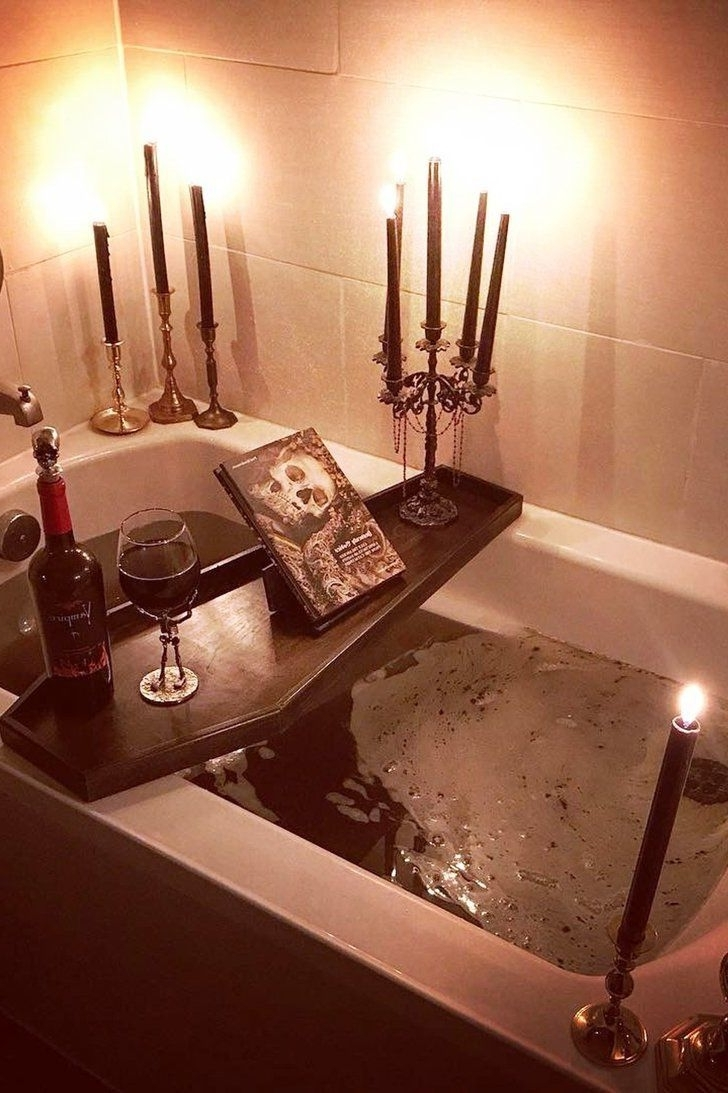 Obsessed With Halloween? This Bath Tray Will Bring The 20+ Scary Halloween Bathroom Inspirations