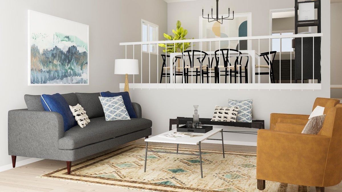Open Layout Solutions For A Split Level Living Room | Modsy Blog Split Level Living Room Decorating