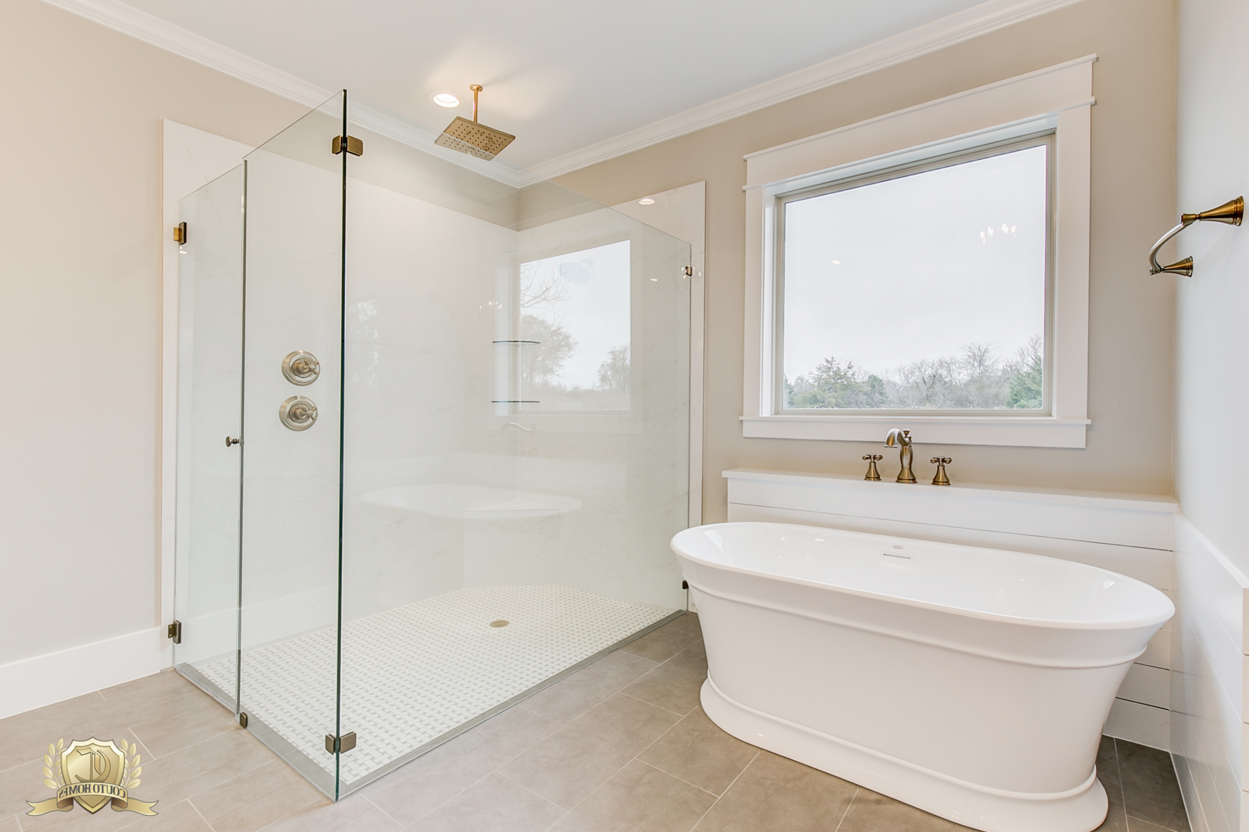 Pedestal Tub And Seamless Walk In Shower | Champagne Gold 30+ Champagne Bathroom Suite Ideas