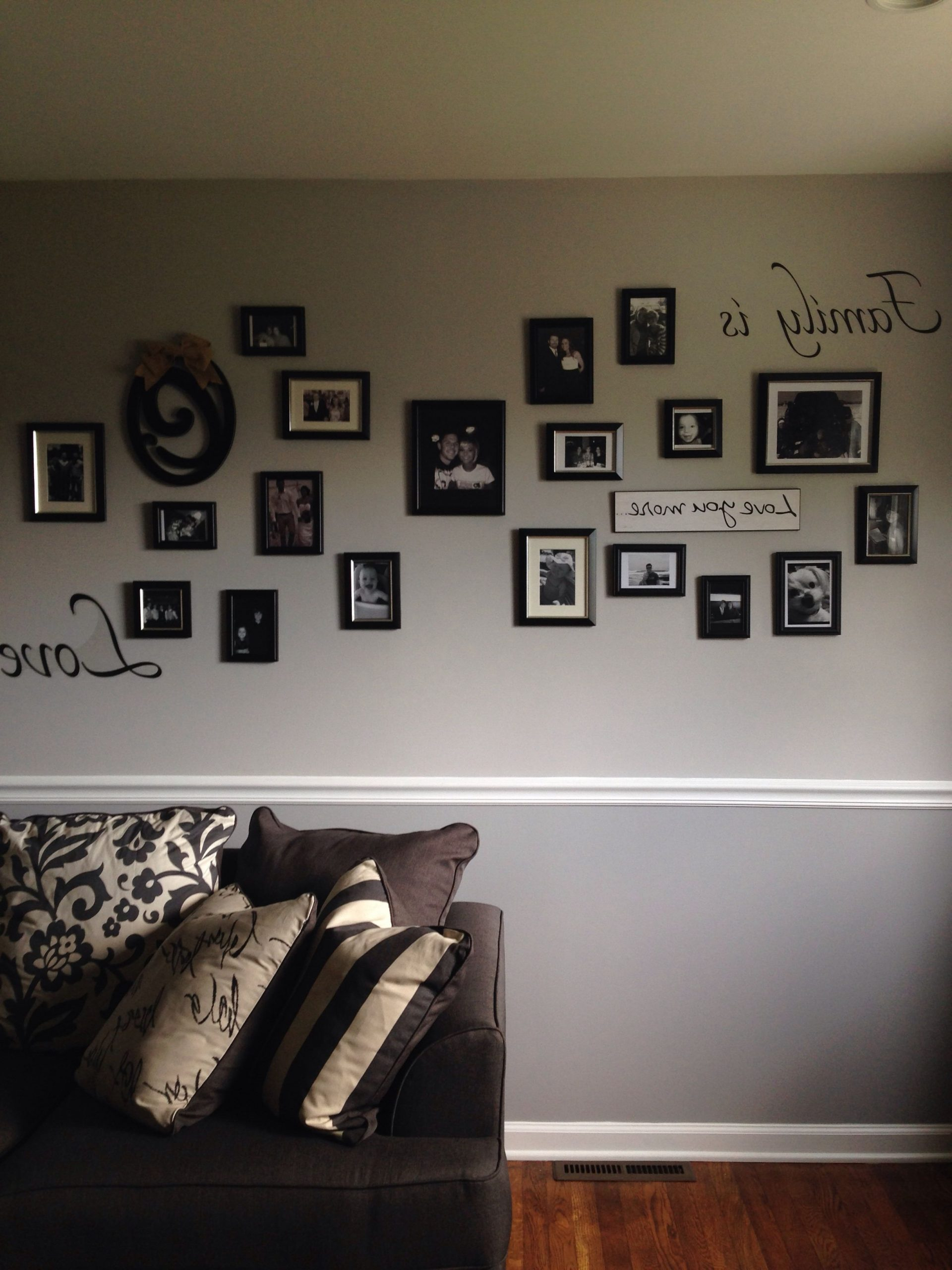Photo Collage On Two Tone Gray Wall With Chair Rail. | Grey Dado Rail Living Room