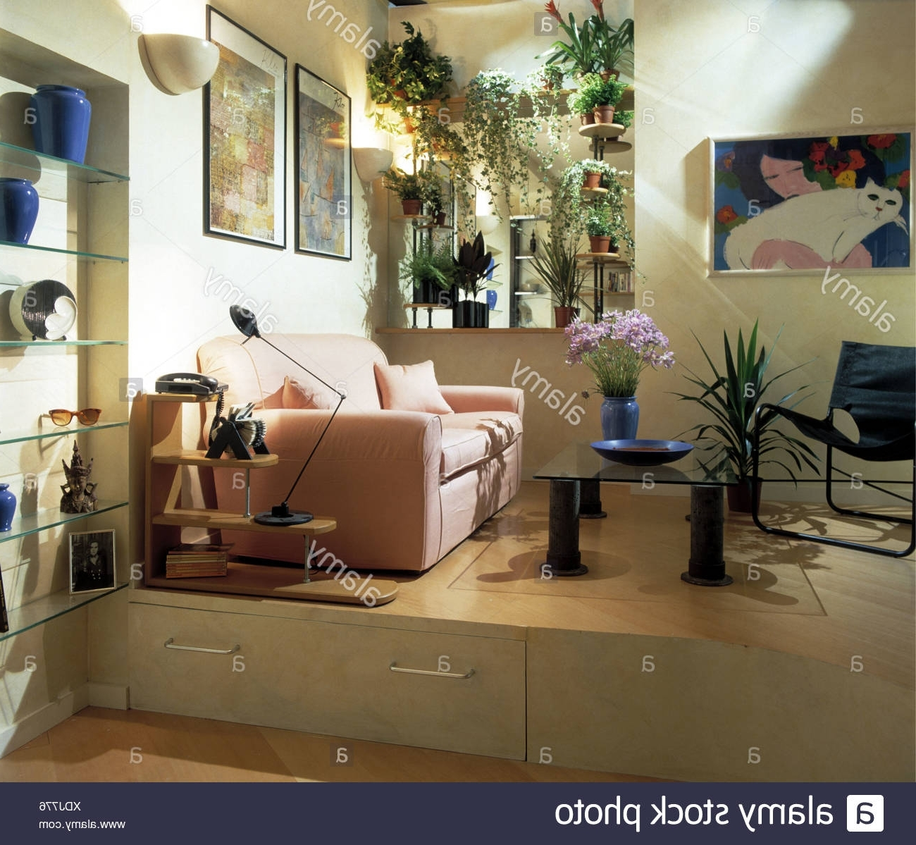 Pink Sofa In Modern Living Room With Storage Drawers In Alcove Storage Living Room