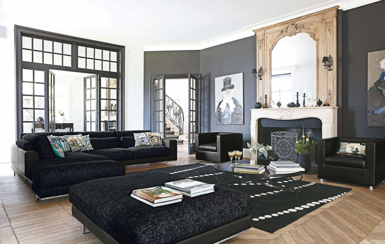 Popular Living Room Decorating Ideas With Black Leather Living Room Decorating Black Leather Couch