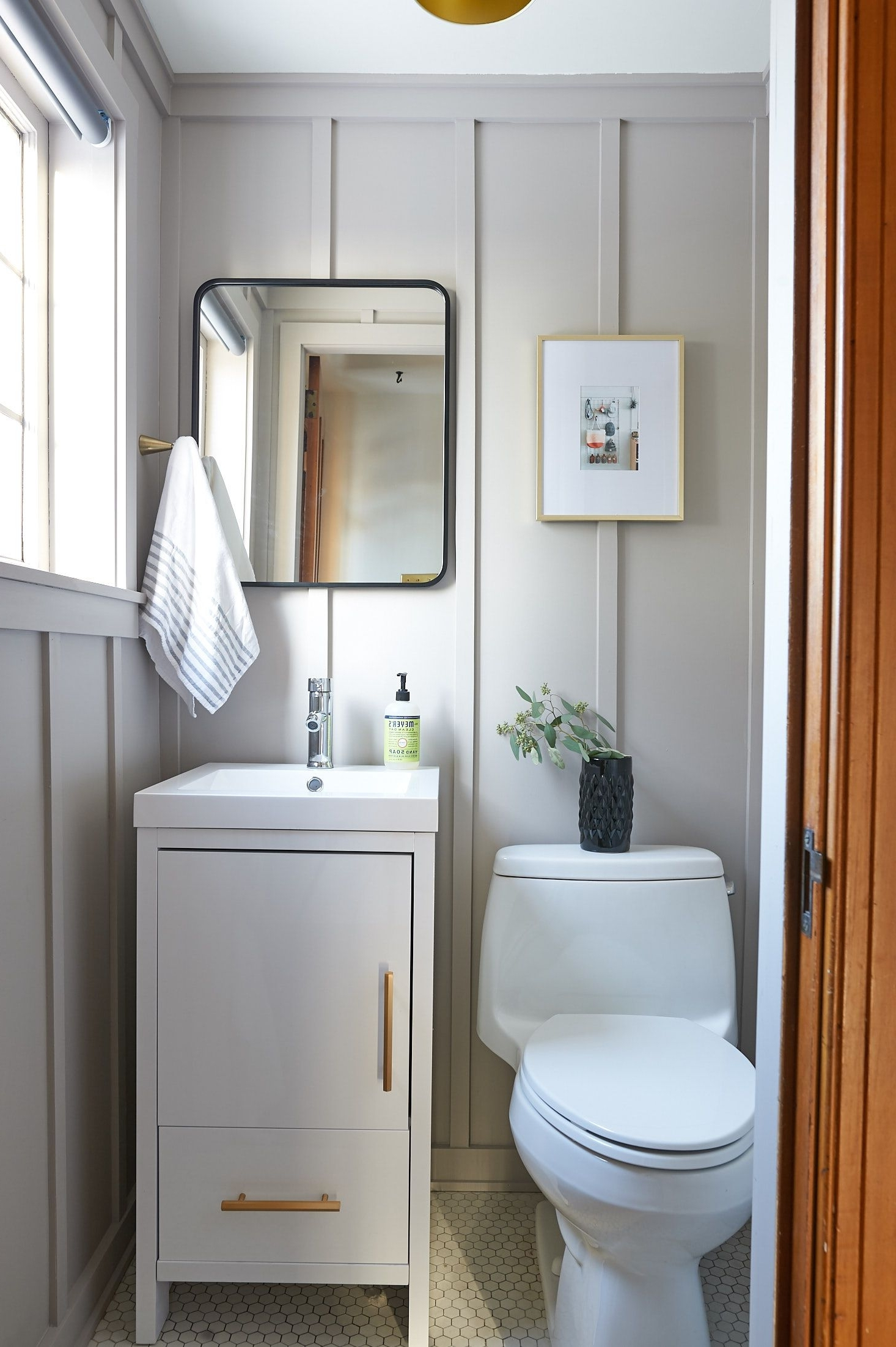 Powder Room Before + After   The Sweet Beast Blog   Powder Board And Batten Small Bathroom