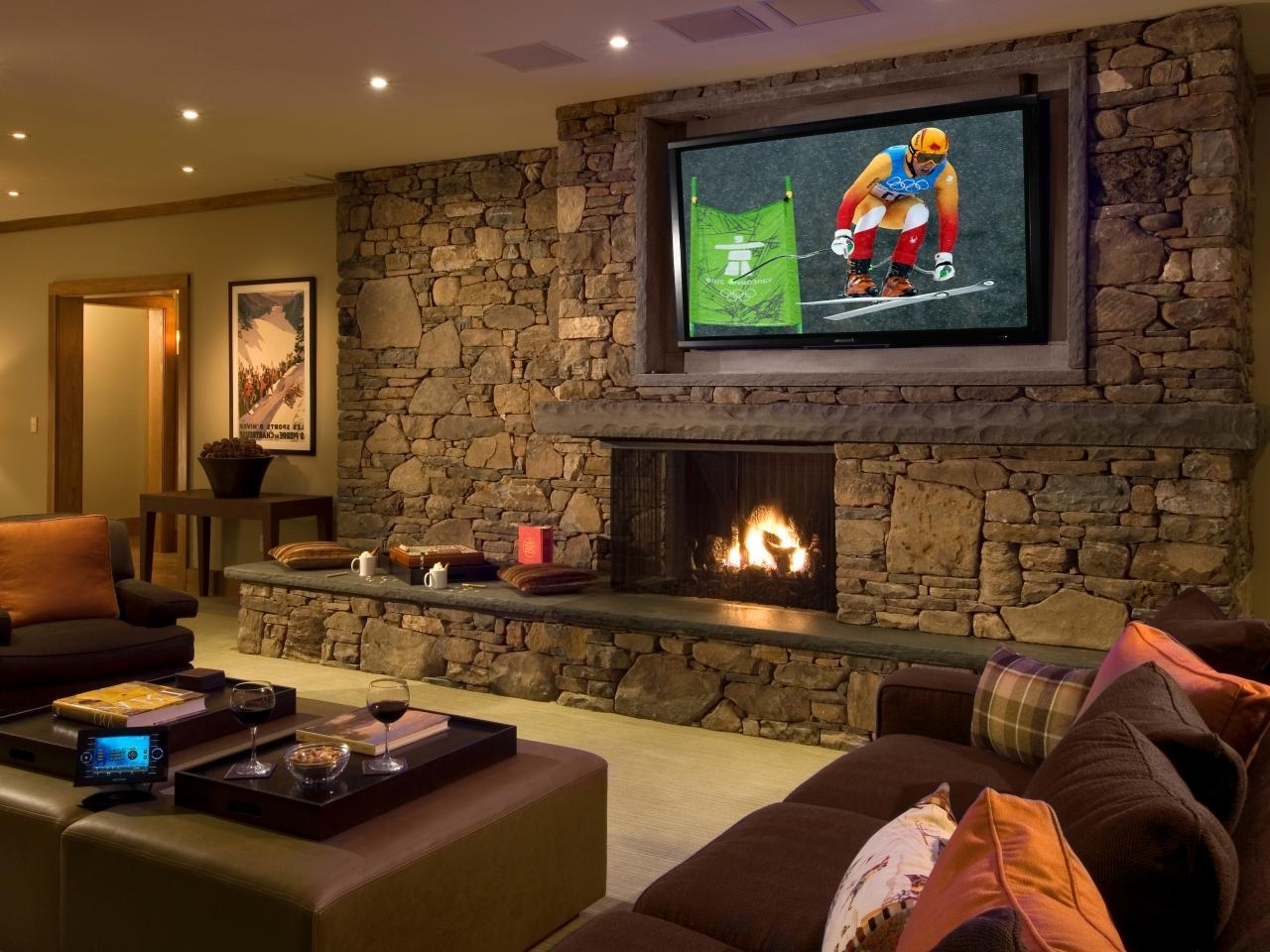 Projectors, Flat Screens And More | Hgtv Decorating Living Room With Flat Screen Tv
