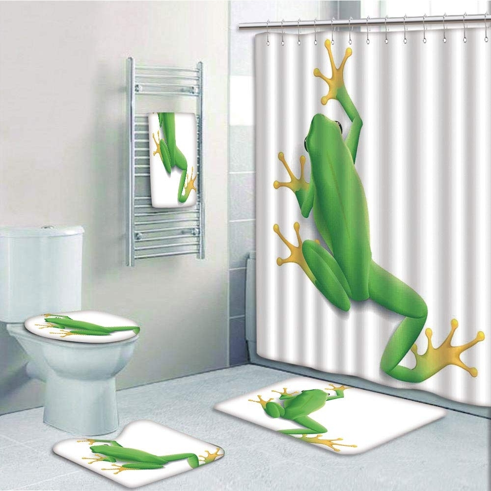 Prtau A Frog From Behind Little Paws Tropic Nature Wildlife Modern 5 Piece Bathroom Set Shower Curtain Bath Towel Bath Rug Contour Mat And Toilet Lid 40+ Frog Bathroom Decorating Inspirations