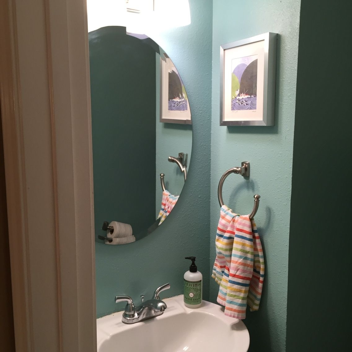 Redid Our Small Bathroom In Paint Color Valspar Lake Country Valspar Bathroom Color
