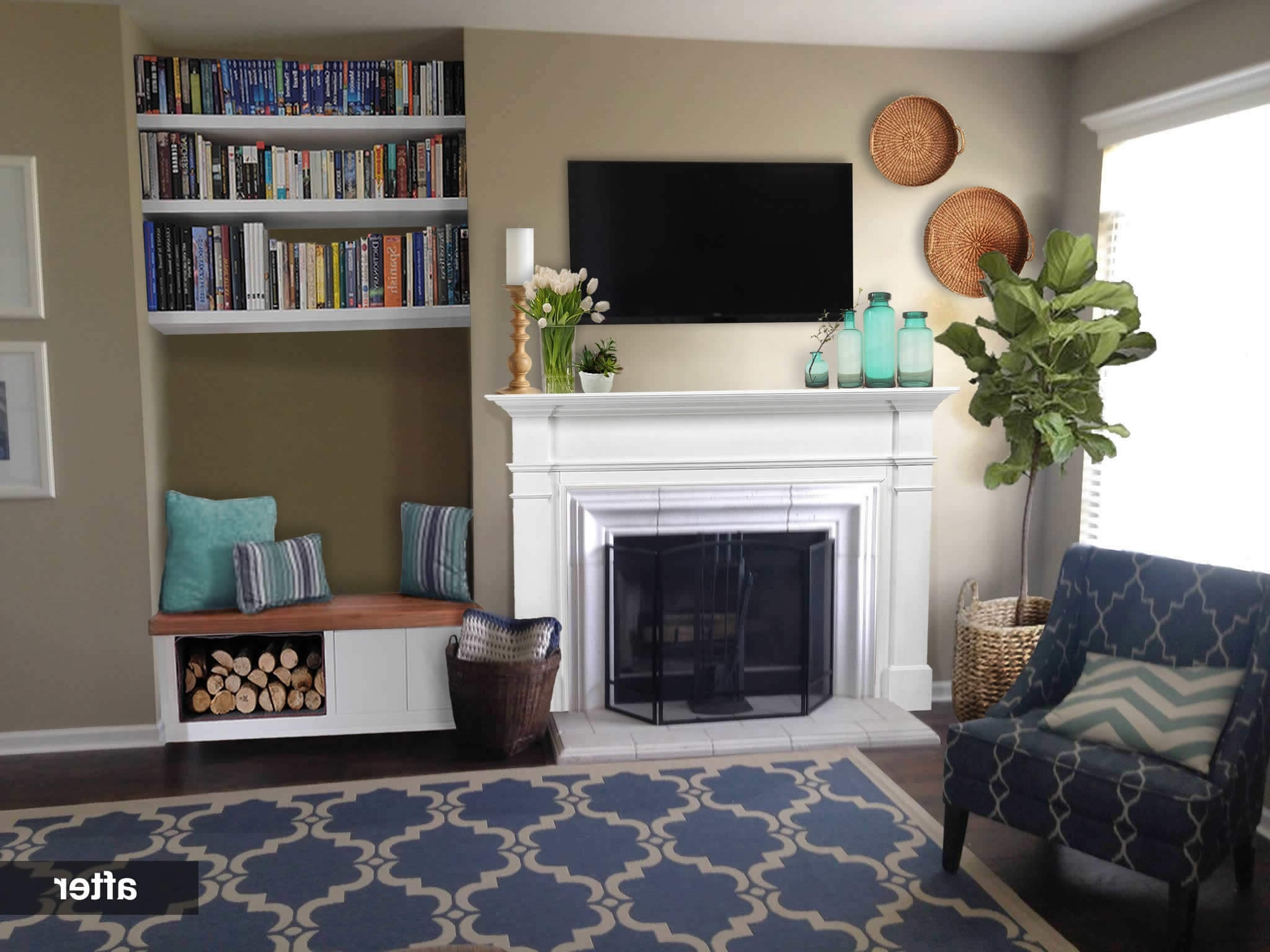 Remodelaholic | Real Life Rooms: An Awkward Alcove Becomes A Alcove Storage Living Room