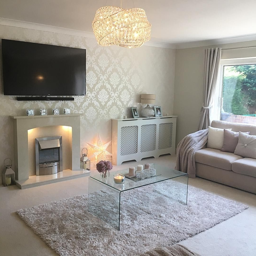 See This Instagram Photo@Mrs Rackley.home • Lounge 40+ Glitter Wallpaper Living Room Ideas