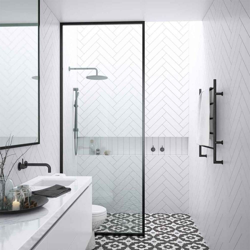 Shower At The Back Wall, Toilet And Sink To The Left And The Compact Ensuite Bathroom Designs