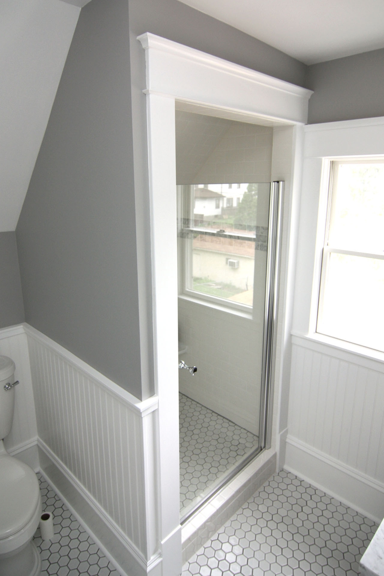 Slanted Ceiling Shower | Houzz Small Bathroom With Sloped Ceiling