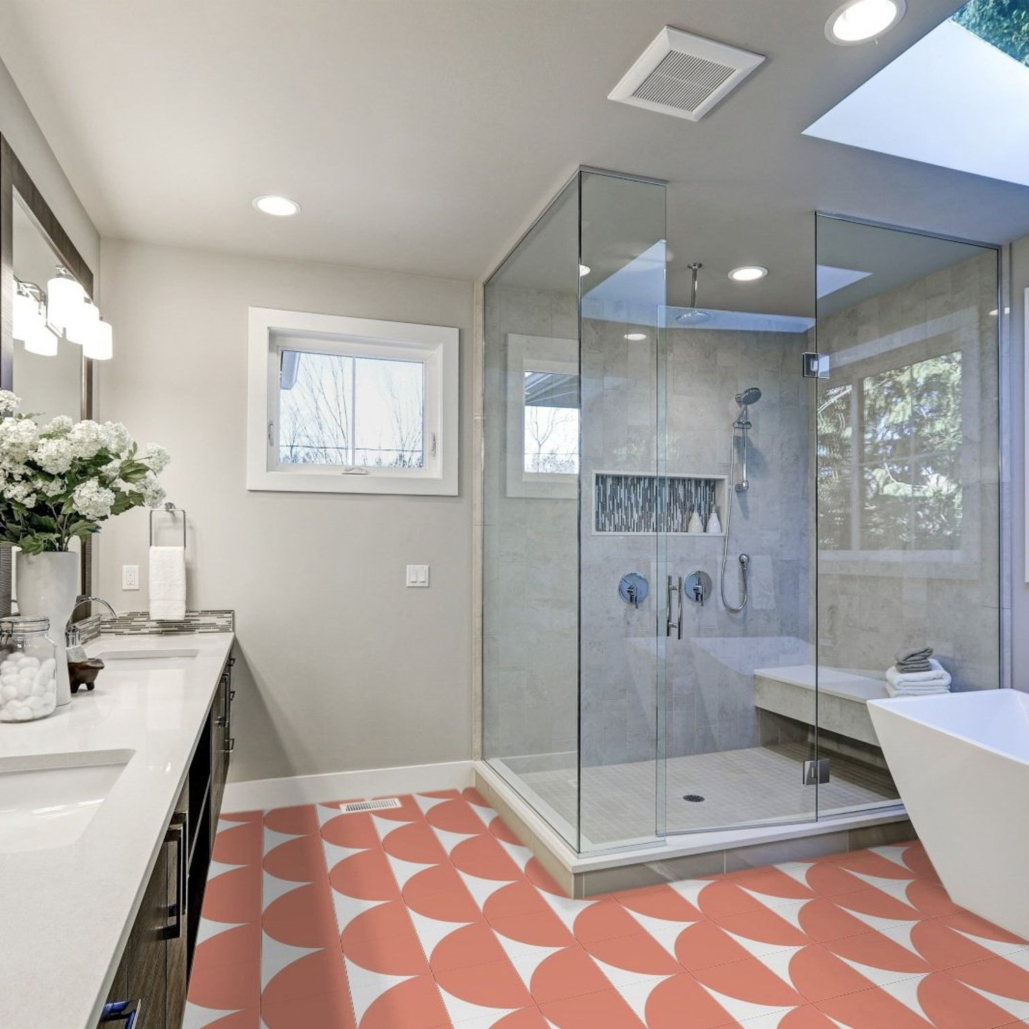 Stacy Garcia Maddox Deco Coral 8X8 Matte Porcelain Tile In 8X8 Bathroom Remodel