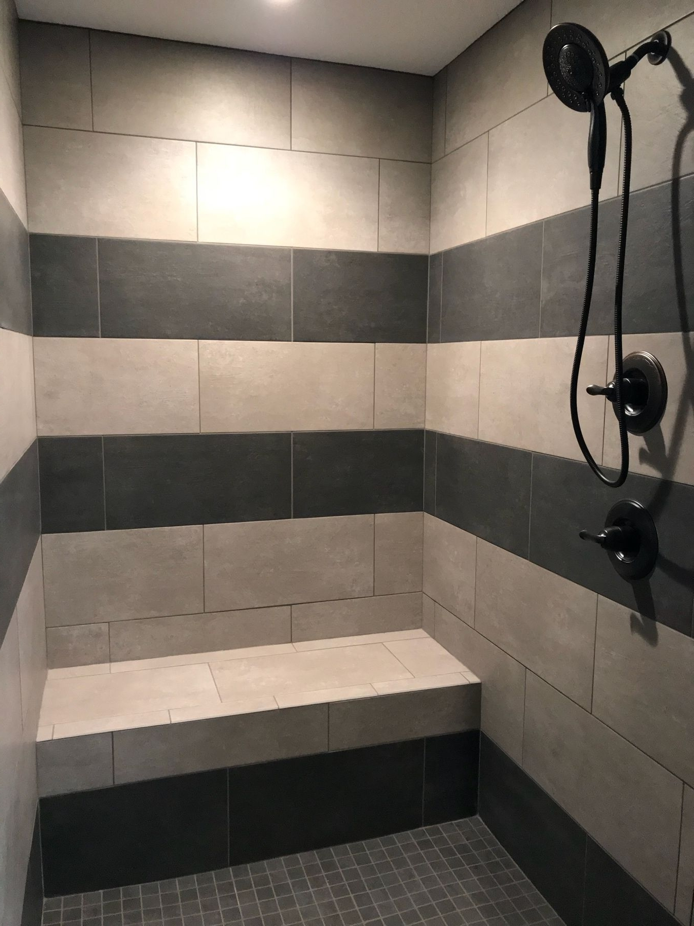 Striped Walk In Tile Shower With Light And Dark Ceramic Tile 40+ 2X2 Bathroom Design Ideas