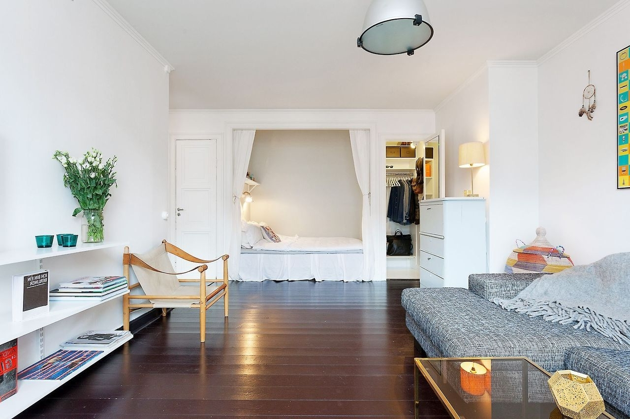 Studio Apartment With Bed Alcove   Small Space Living 30+ Alcove Studio Apartment Design Inspirations