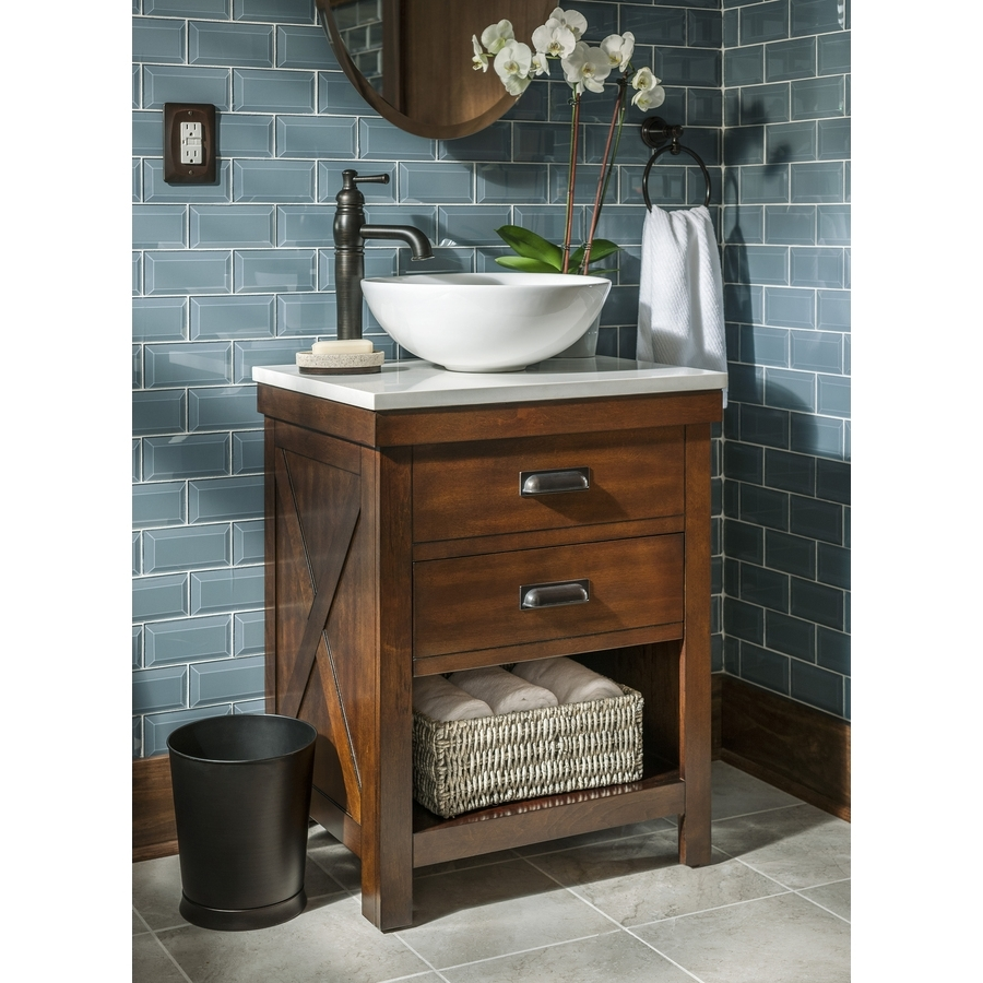 Style Selections Cromlee 24 In Bark Single Sink Bathroom Vanity With White Engineered Stone Top (Faucet Included) Lowe'S Creative Bathroom