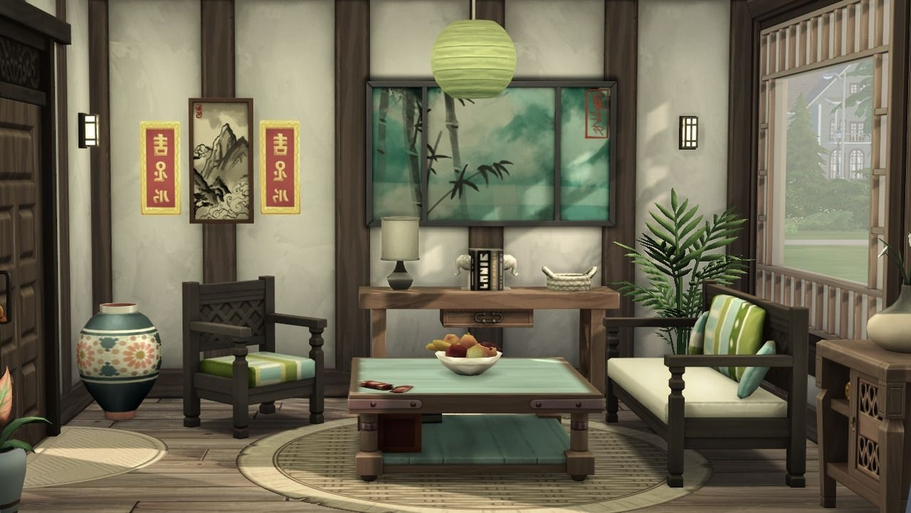 The Asian Living Room ! No Cc Has Been Used !   Asian Living 40+ Sims 4 Living Room No Cc Inspirations