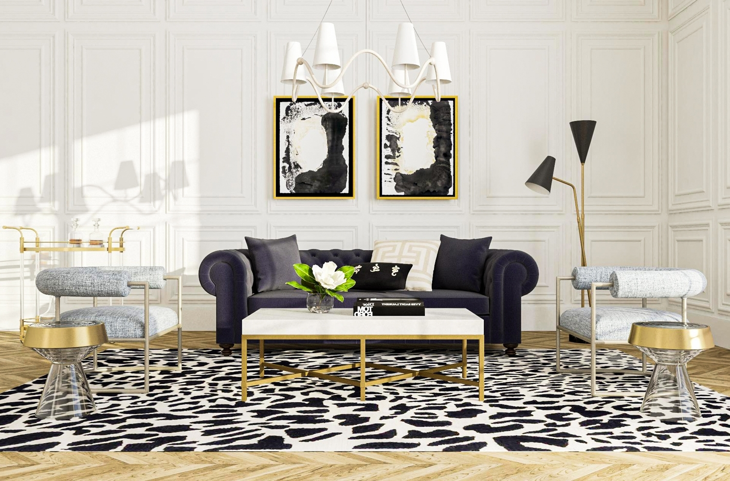 The Difference Between Hollywood & Bohemian Glam | Modsy Blog Hollywood Regency Living Room Design