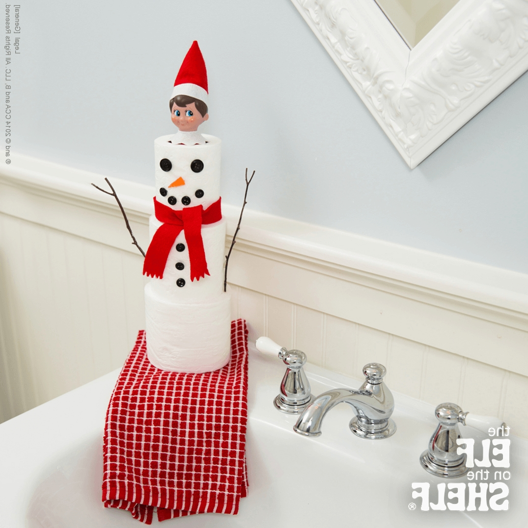 Tiny Toilet Paper Snowman | The Elf On The Shelf 40+ Elf On The Shelf For Bathroom Inspirations
