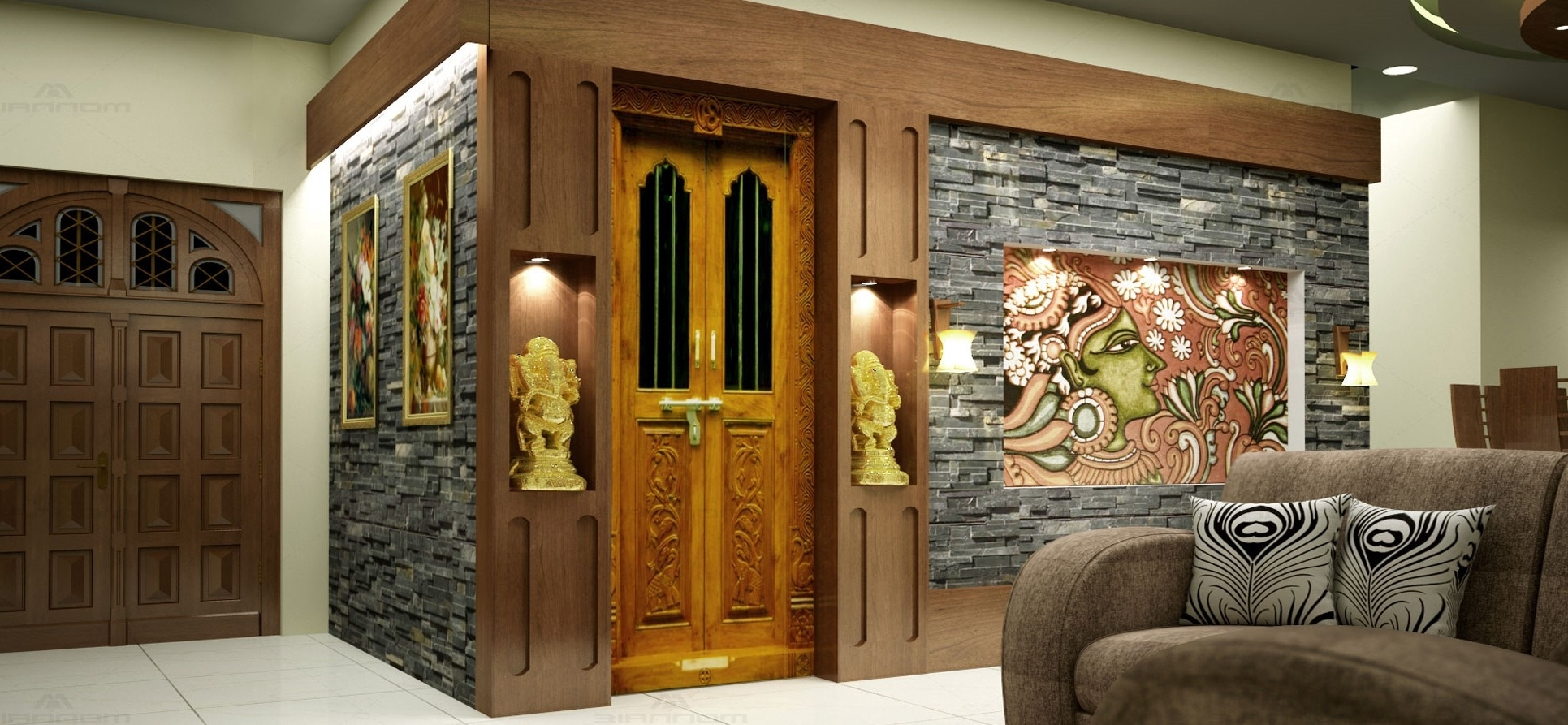 Top 4 Pooja Unit Designs For Your Indian Home Décor | 10+ Pooja Shelf In Living Room Ideas