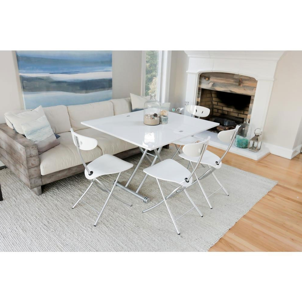 Transforming X Coffee And Dining Table In High Gloss White Finish Spacemaster Corner Housewares Modern Multi Purpose Dining Room