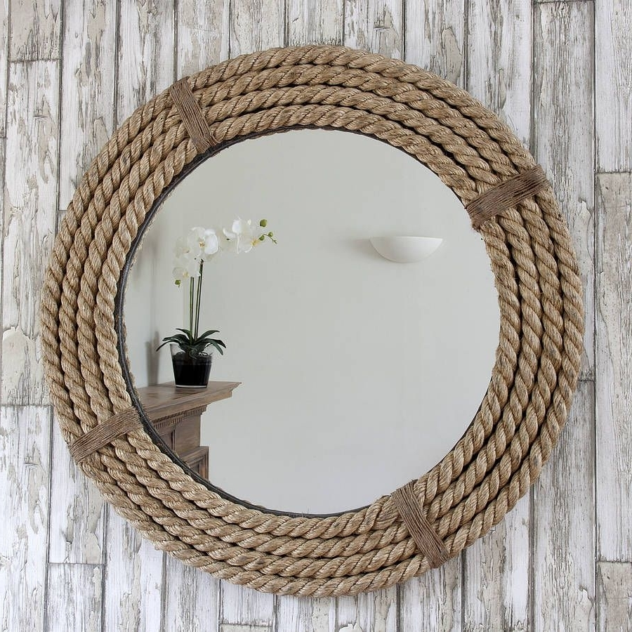 Twisted Rope Round Mirror | Rope Mirror, Beach Theme 10+ Nautical Bathroom Mirrors Inspirations